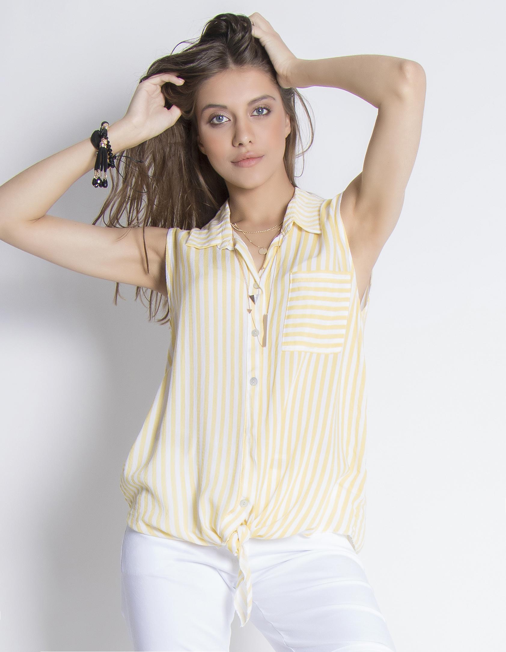 Αμάνικο ριγέ πουκάμισο - Κίτρινο