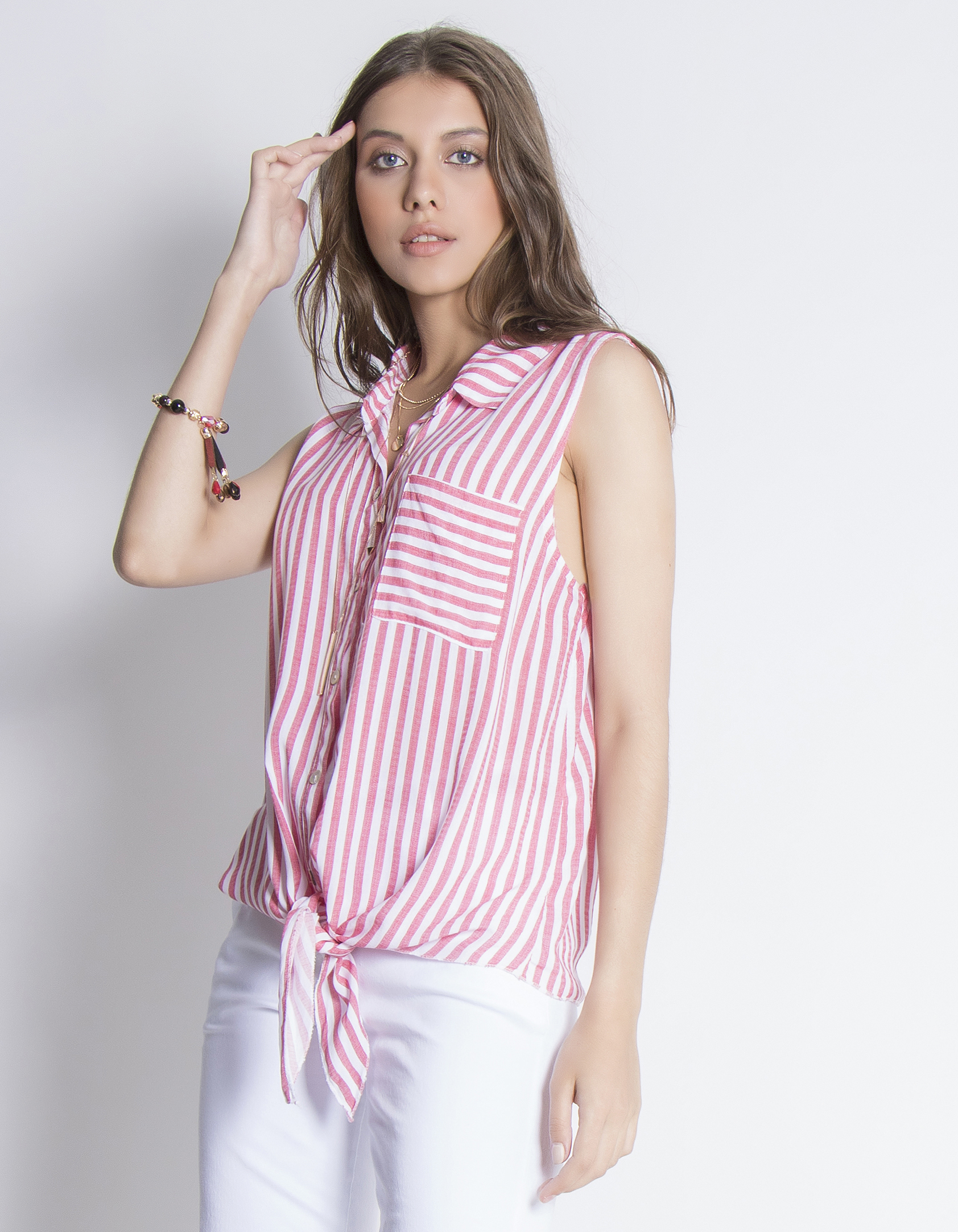 Αμάνικο ριγέ πουκάμισο - Κόκκινο