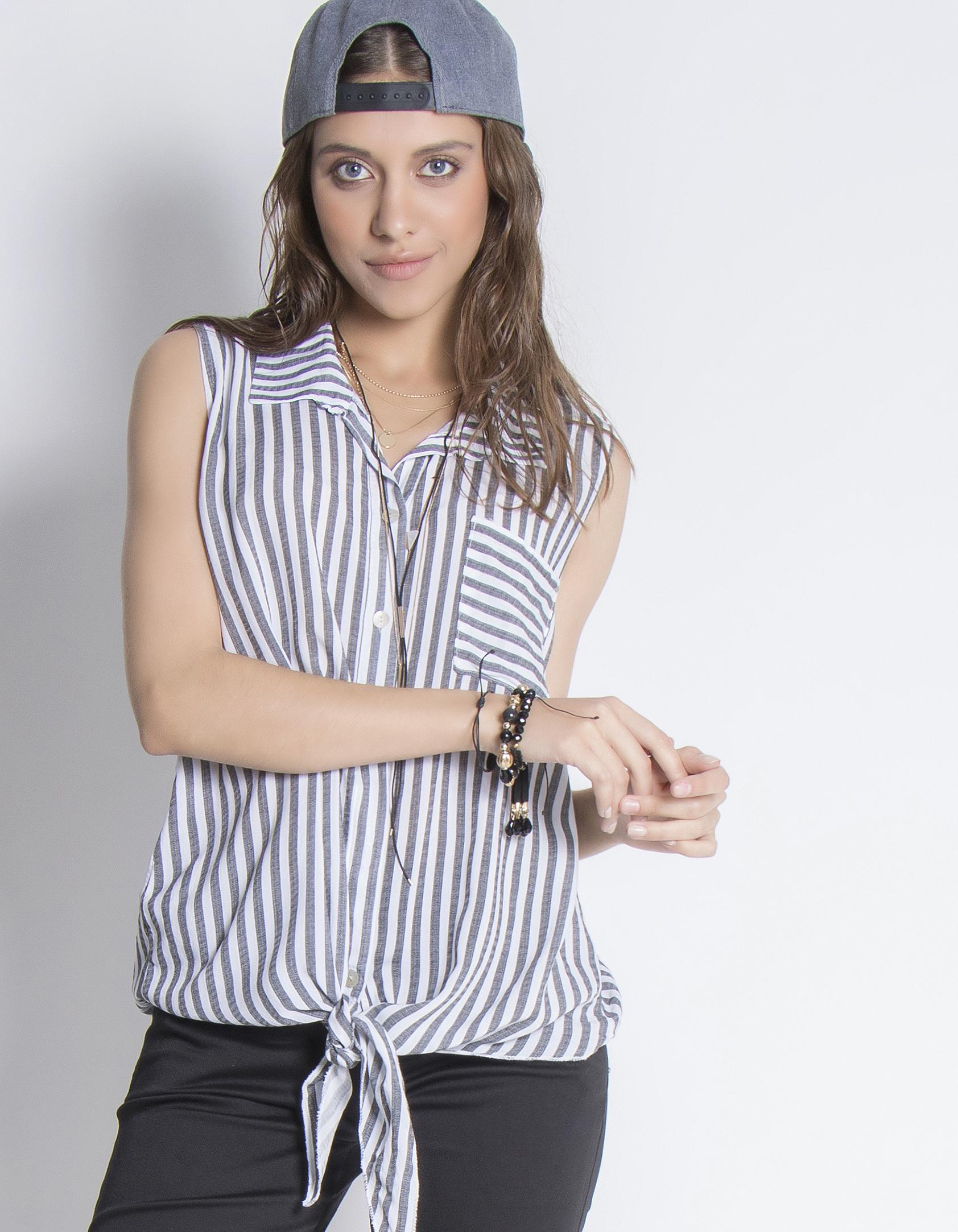Αμάνικο ριγέ πουκάμισο - Μαύρο