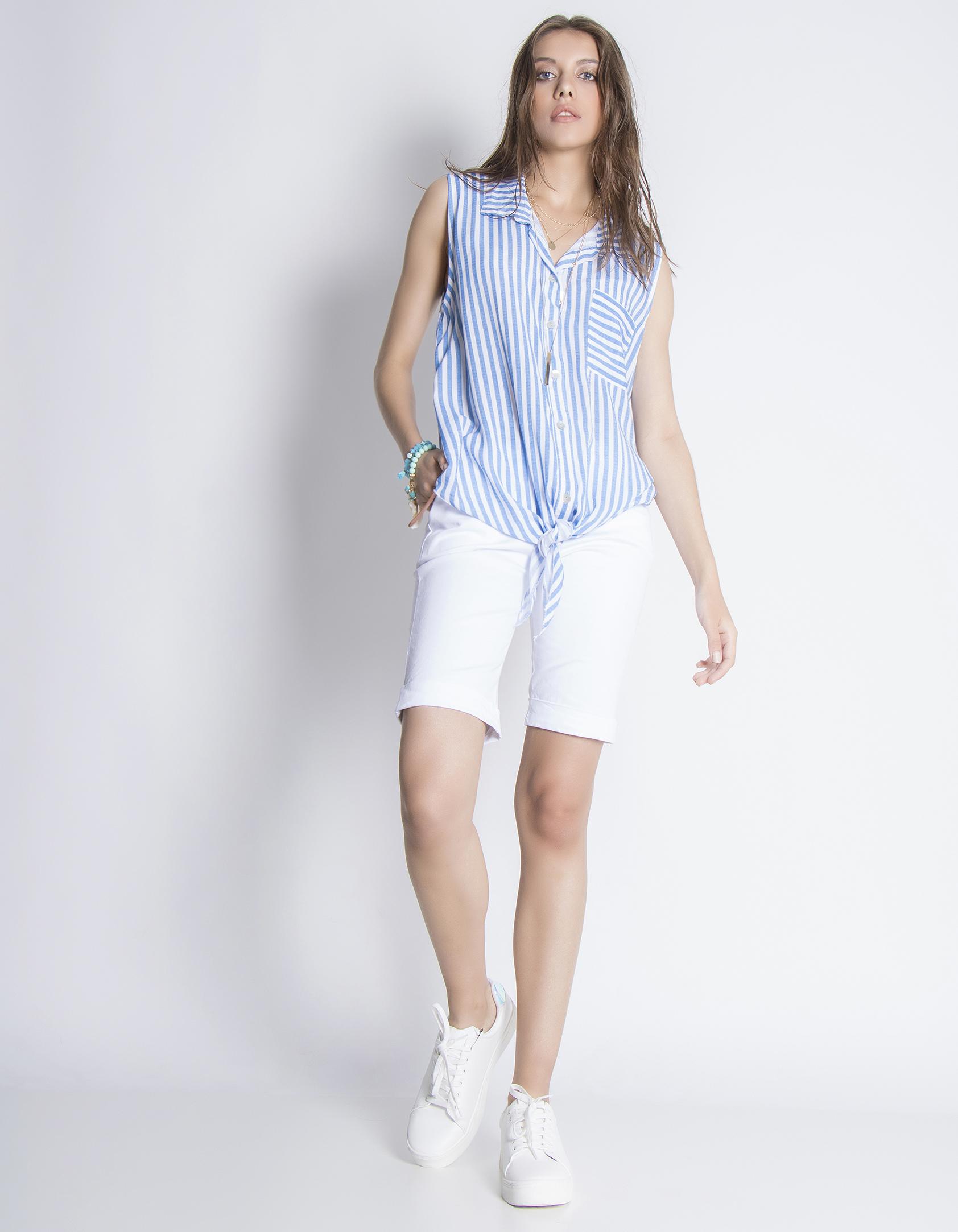 Αμάνικο ριγέ πουκάμισο - Μπλε