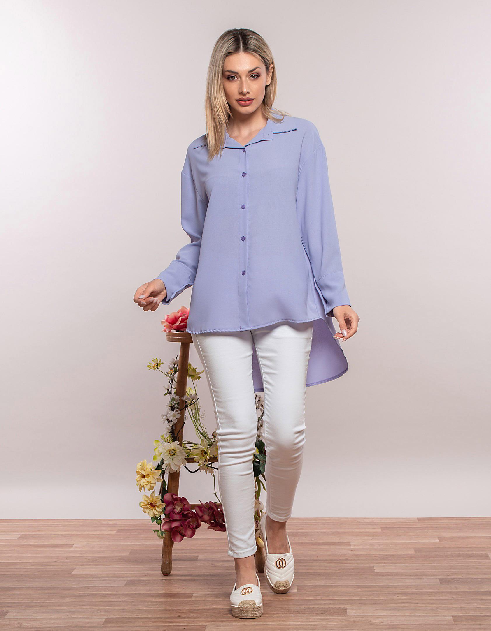 Basic πουκάμισο σε άνετη γραμμή - Λιλά
