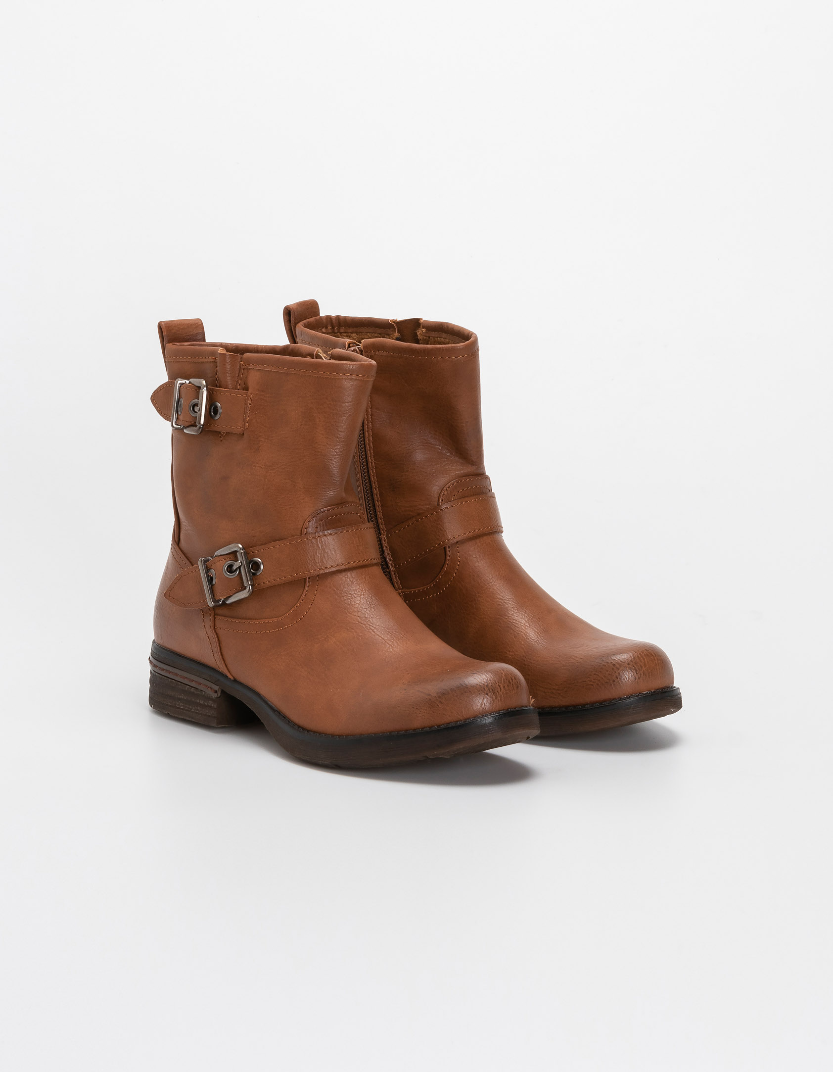 Biker boots με ζωνάκια - Κάμελ