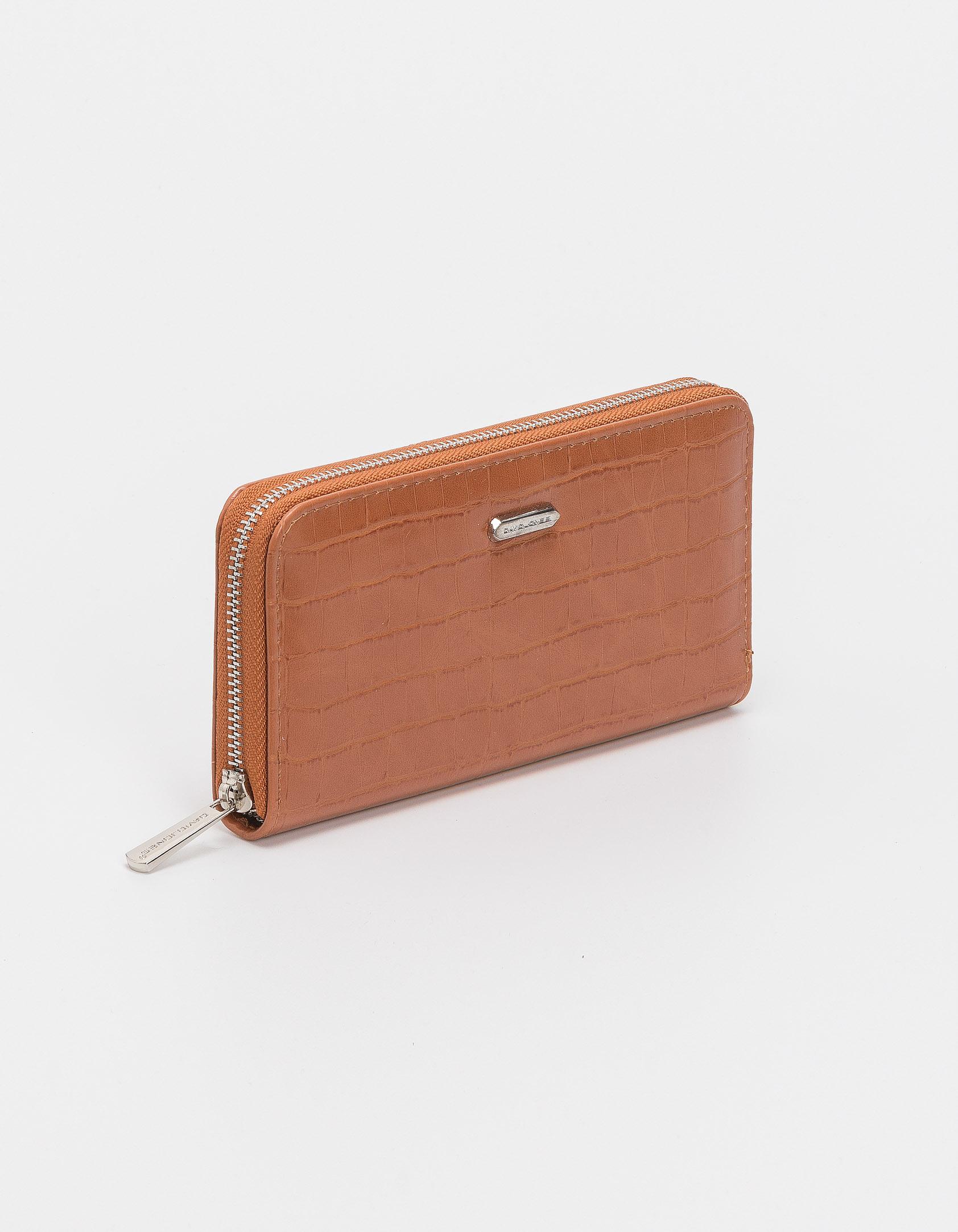 Croco πορτοφόλι με φερμουάρ - Κάμελ