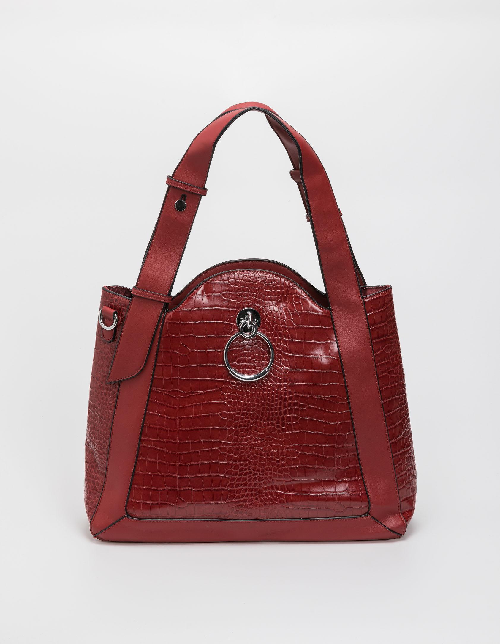 Croco τσάντα ώμου με κρίκο - Κόκκινο