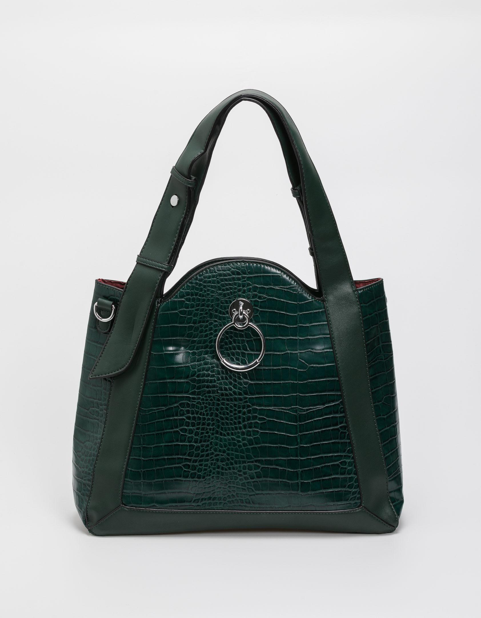 Croco τσάντα ώμου με κρίκο - Πράσινο