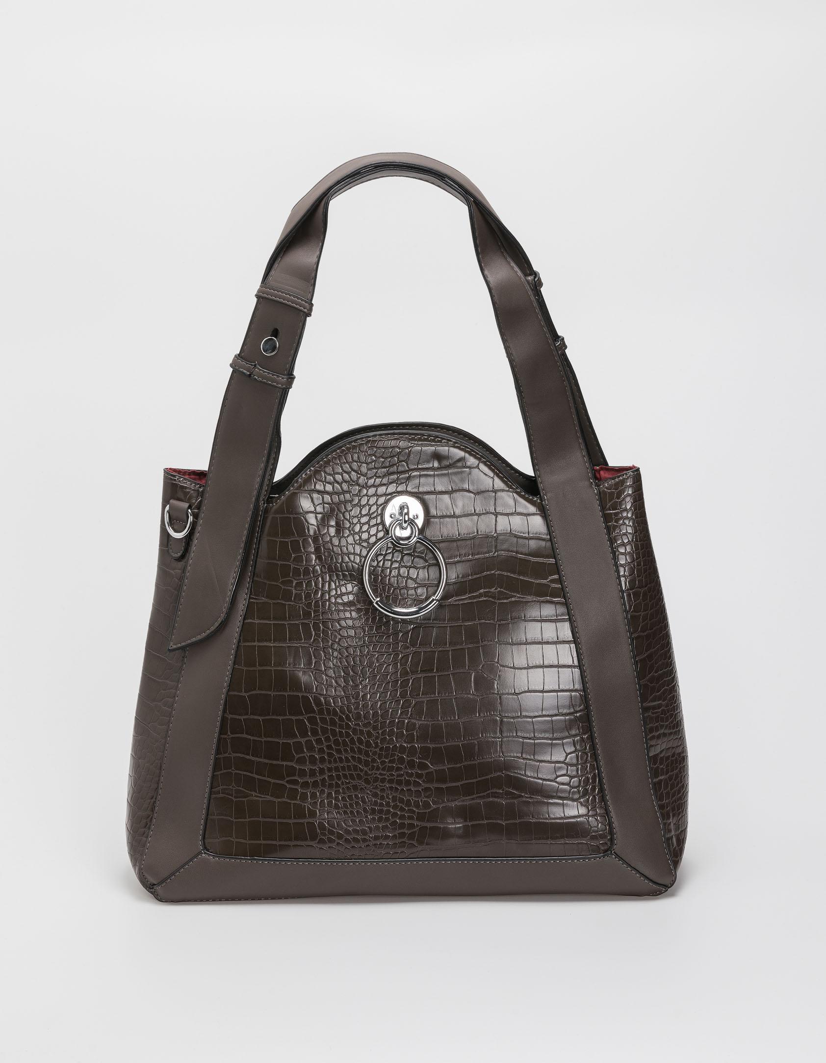 Croco τσάντα ώμου με κρίκο - Γκρι
