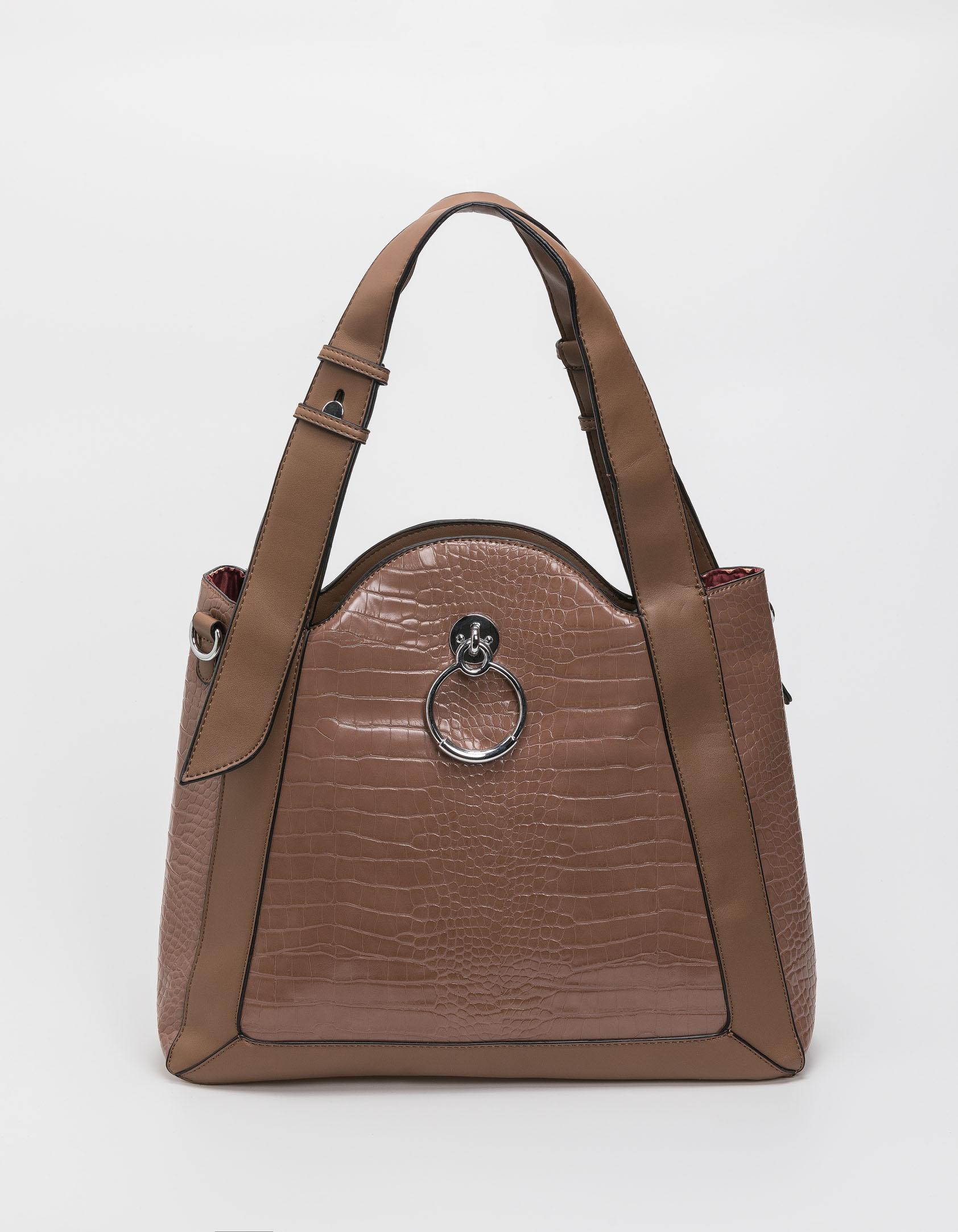 Croco τσάντα ώμου με κρίκο - Πούρο