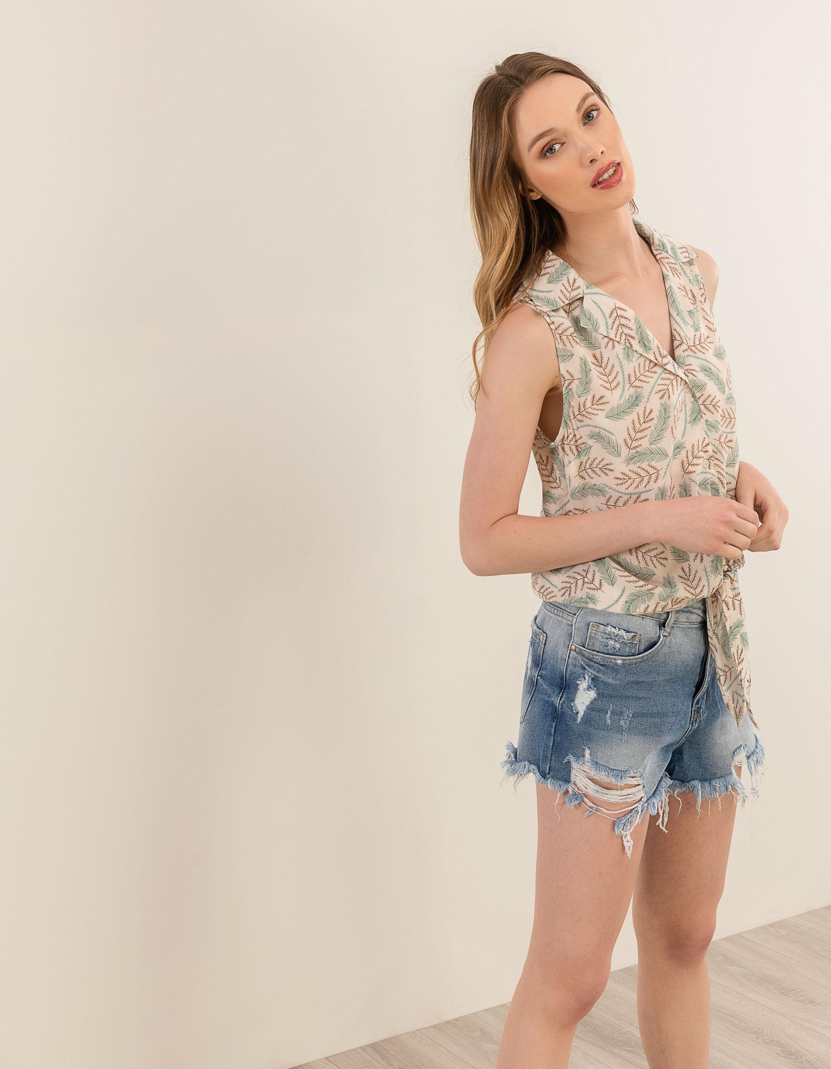 Φλοράλ αμάνικο πουκάμισο - Μπεζ