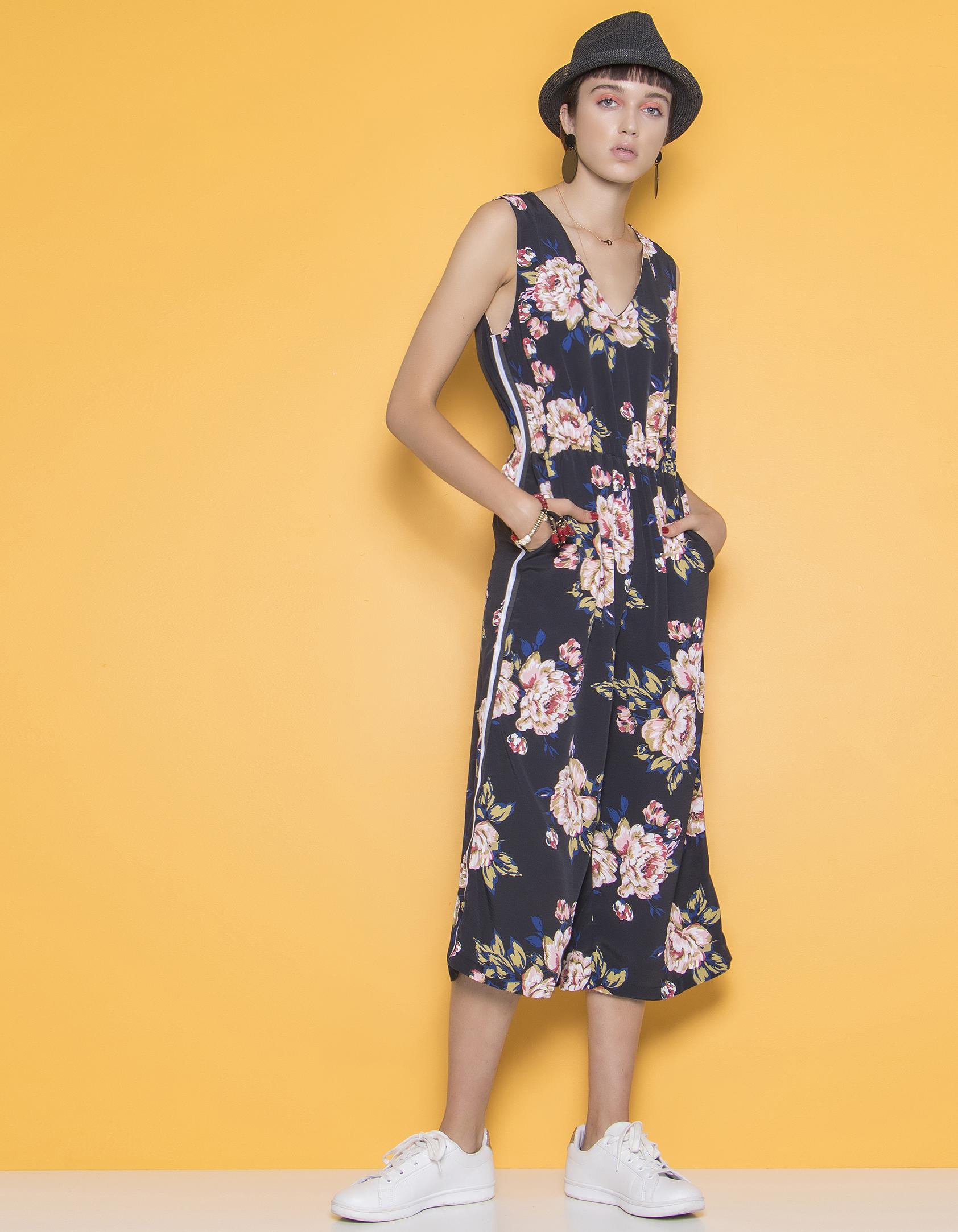 Φλοράλ ολόσωμη φόρμα με ρίγα - Μαύρο
