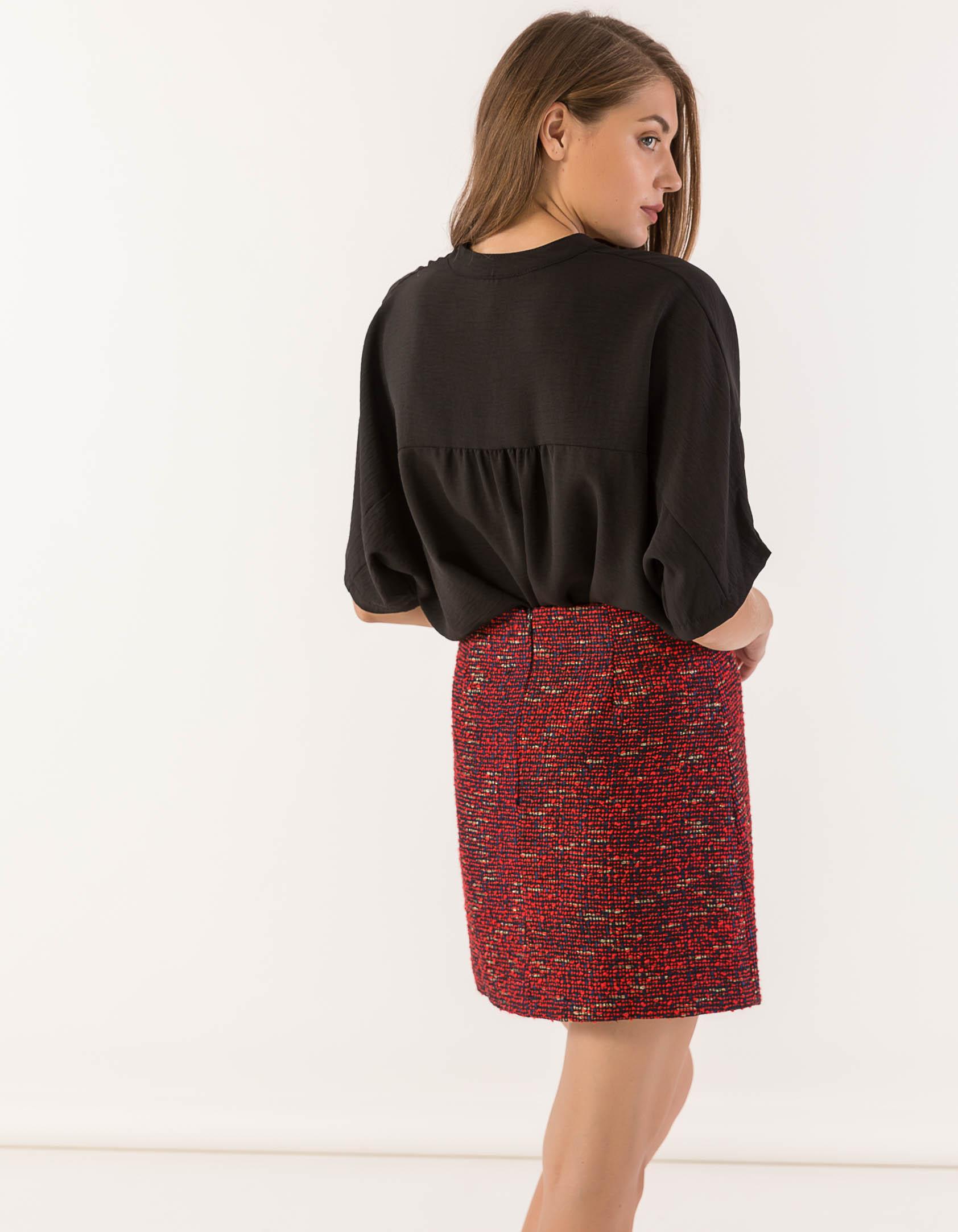 7ef13567603 Φούστα mini σε Α γραμμή από μπουκλέ ύφασμα - Issue
