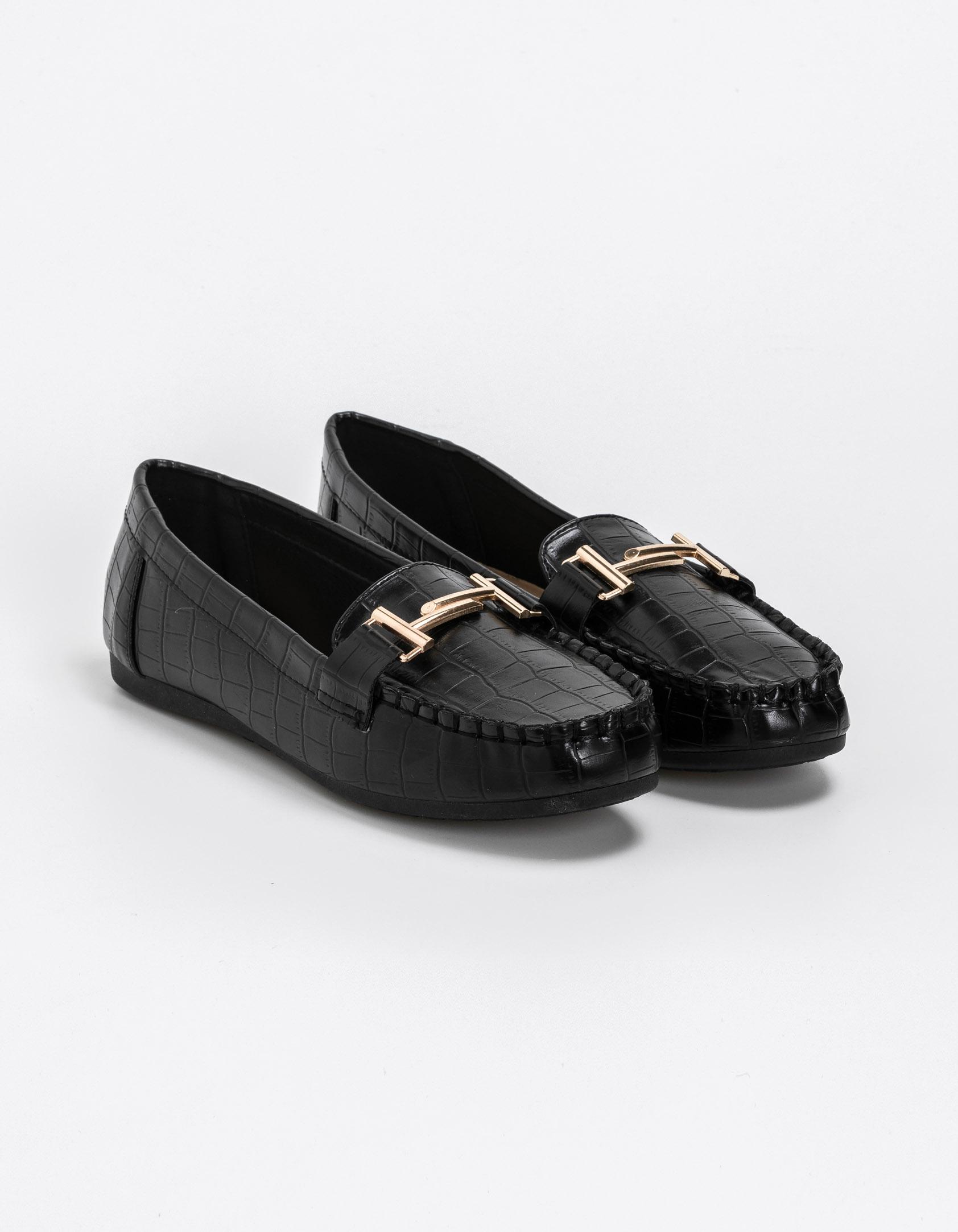 Κροκό loafers - Μαύρο