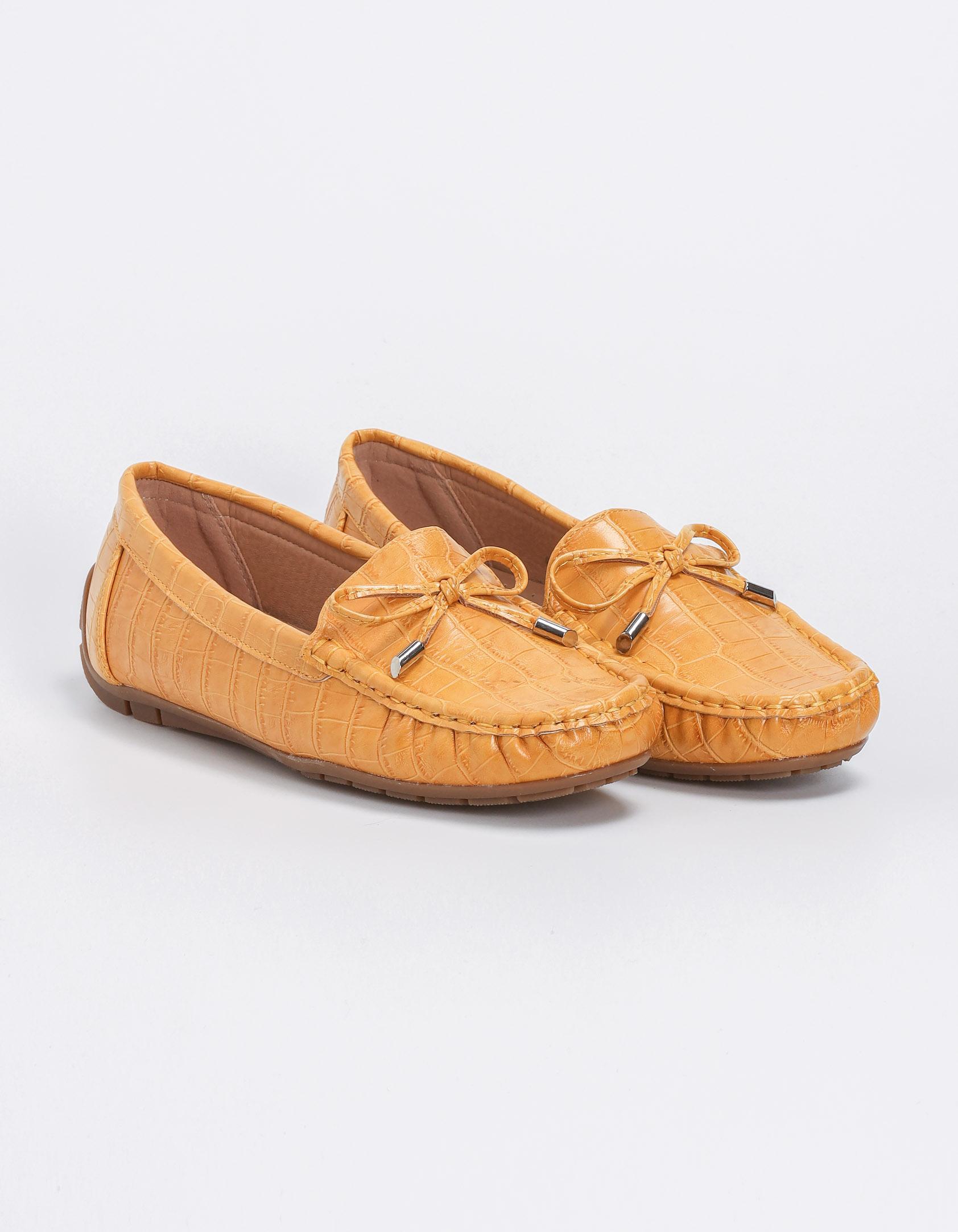 Loafers croco με φιογκάκι - Κίτρινο