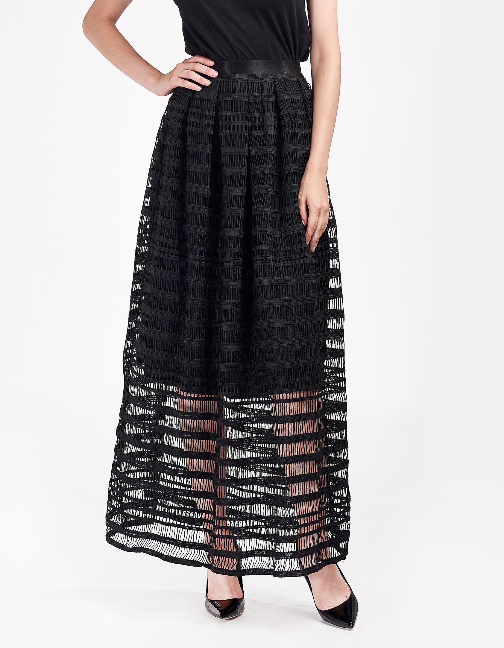 Maxi φούστα με πλεκτό εφέ - Μαύρο