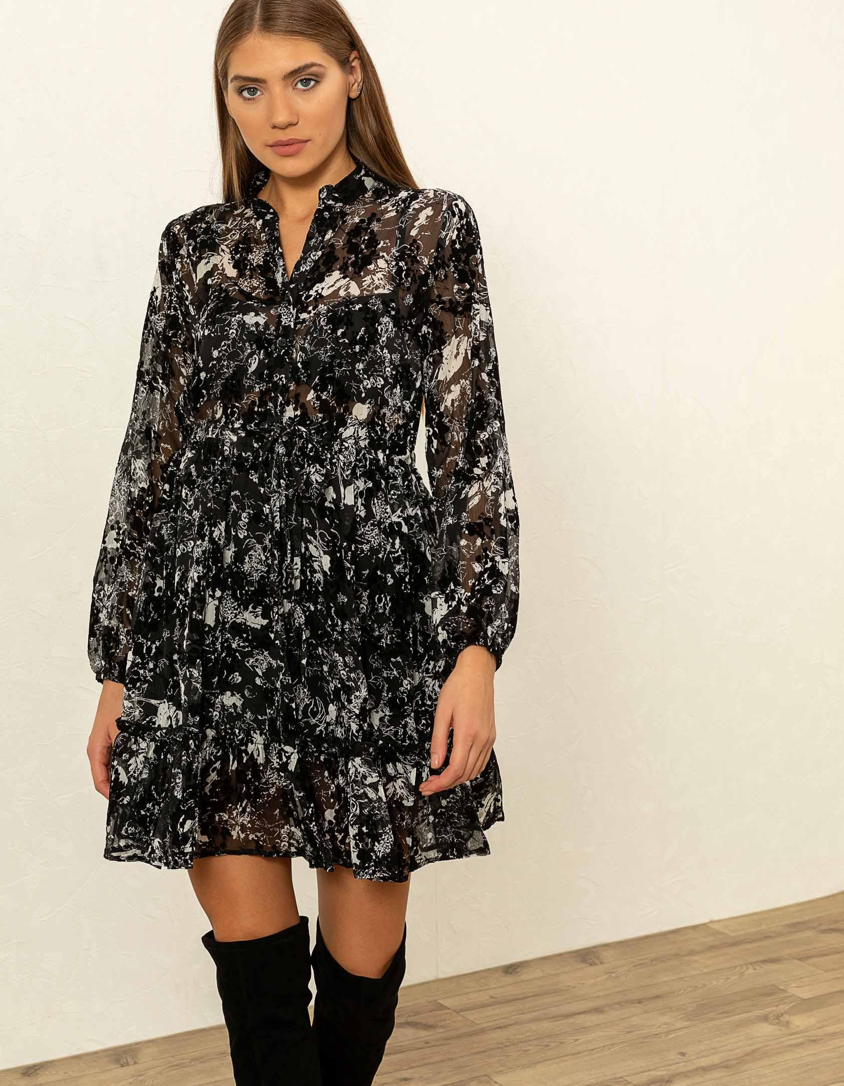 Mini φόρεμα με βελούδινες λεπτομέρειες - Μαύρο