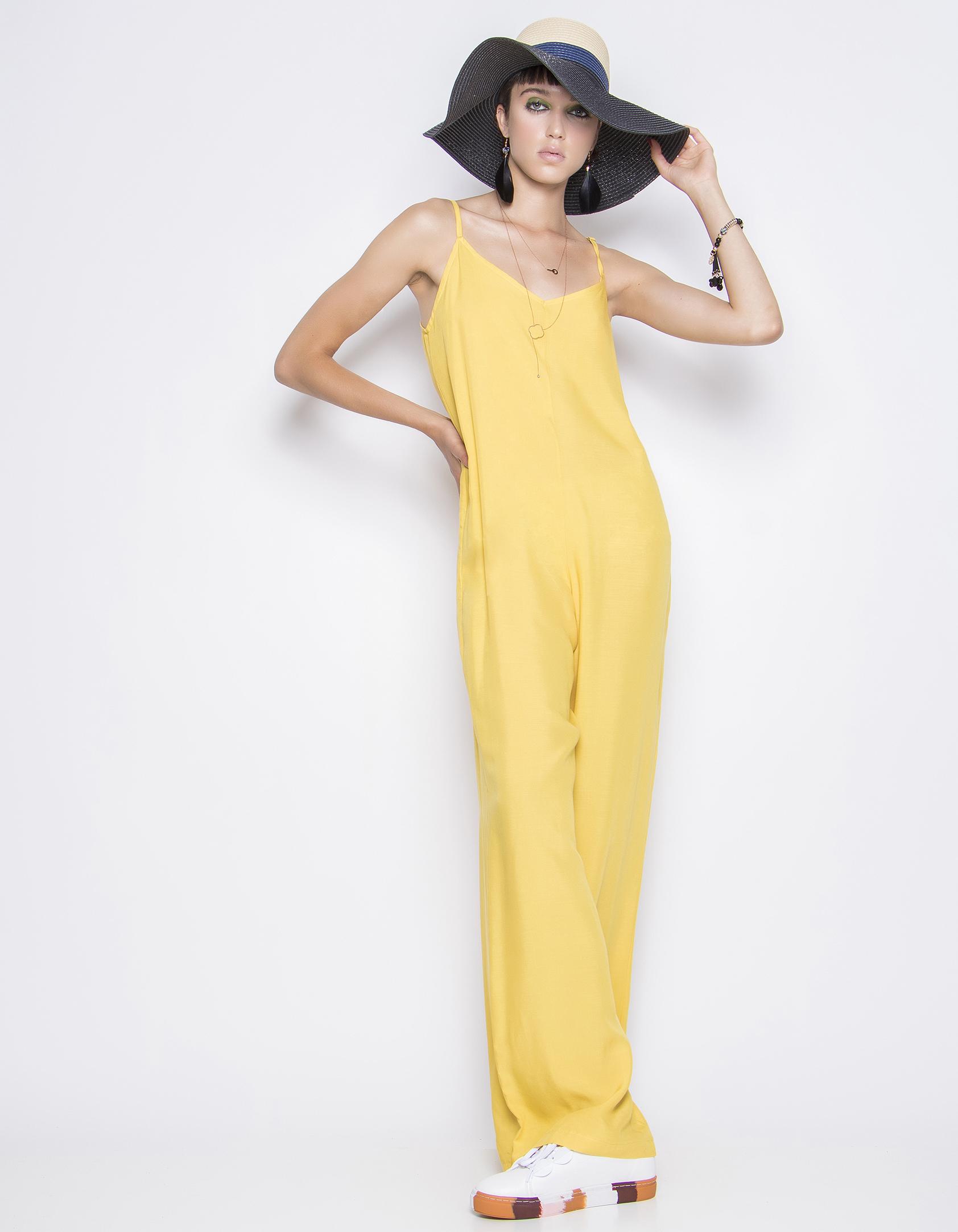 Μονόχρωμη ολόσωμη φόρμα - Κίτρινο