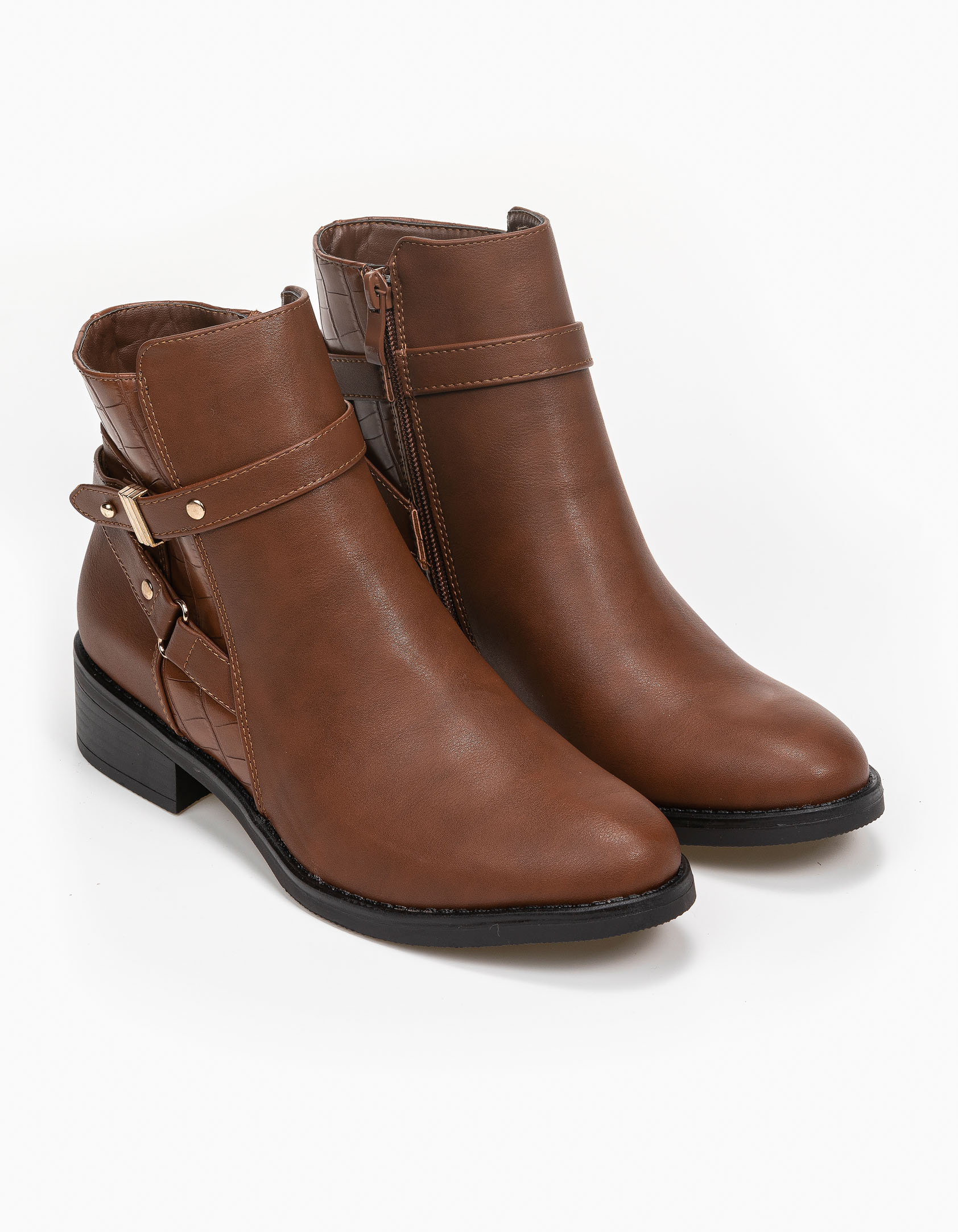 Ankle boots με ζώνη και croco - Κάμελ