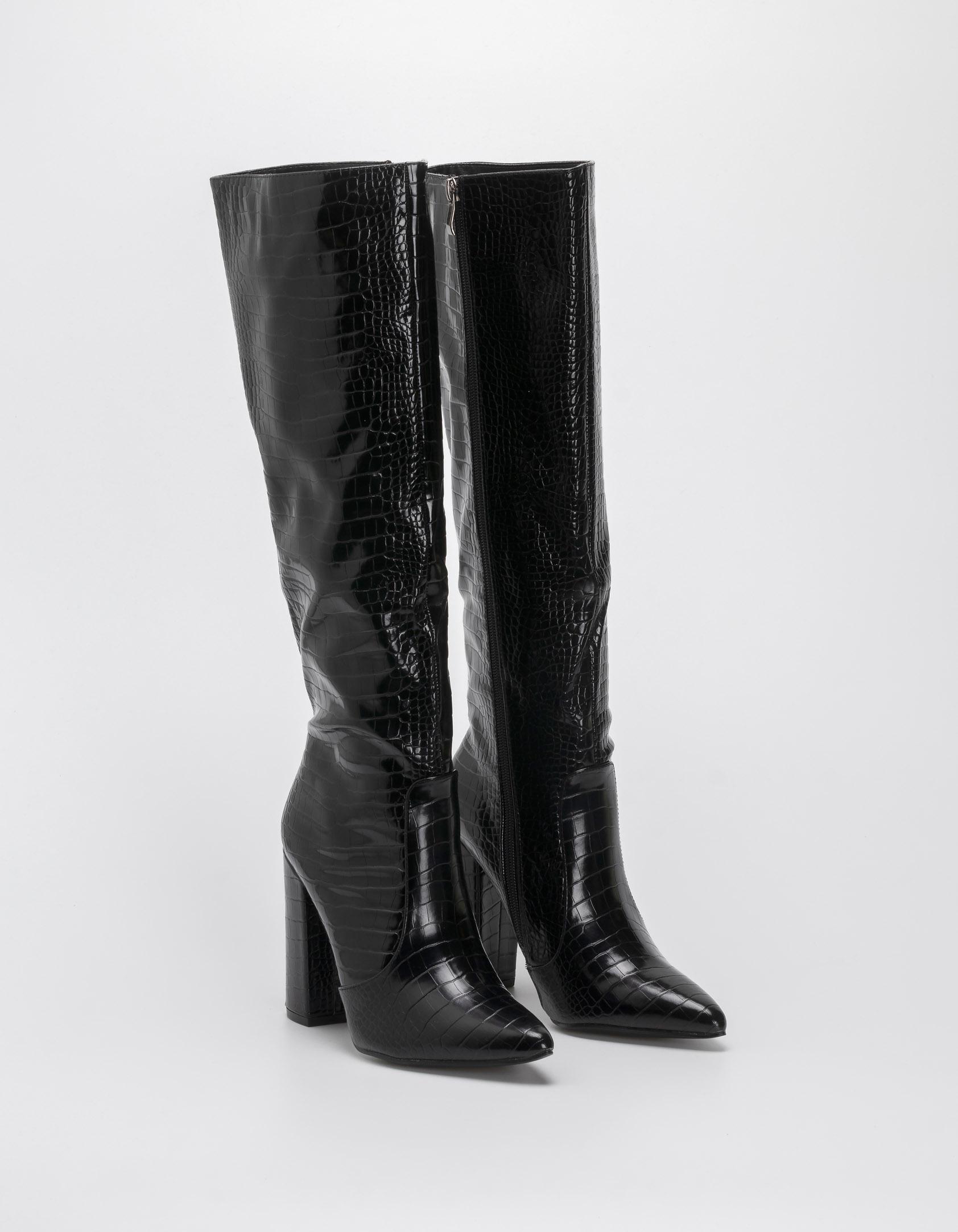 Μπότες croco με χοντρό τακούνι - Μαύρο