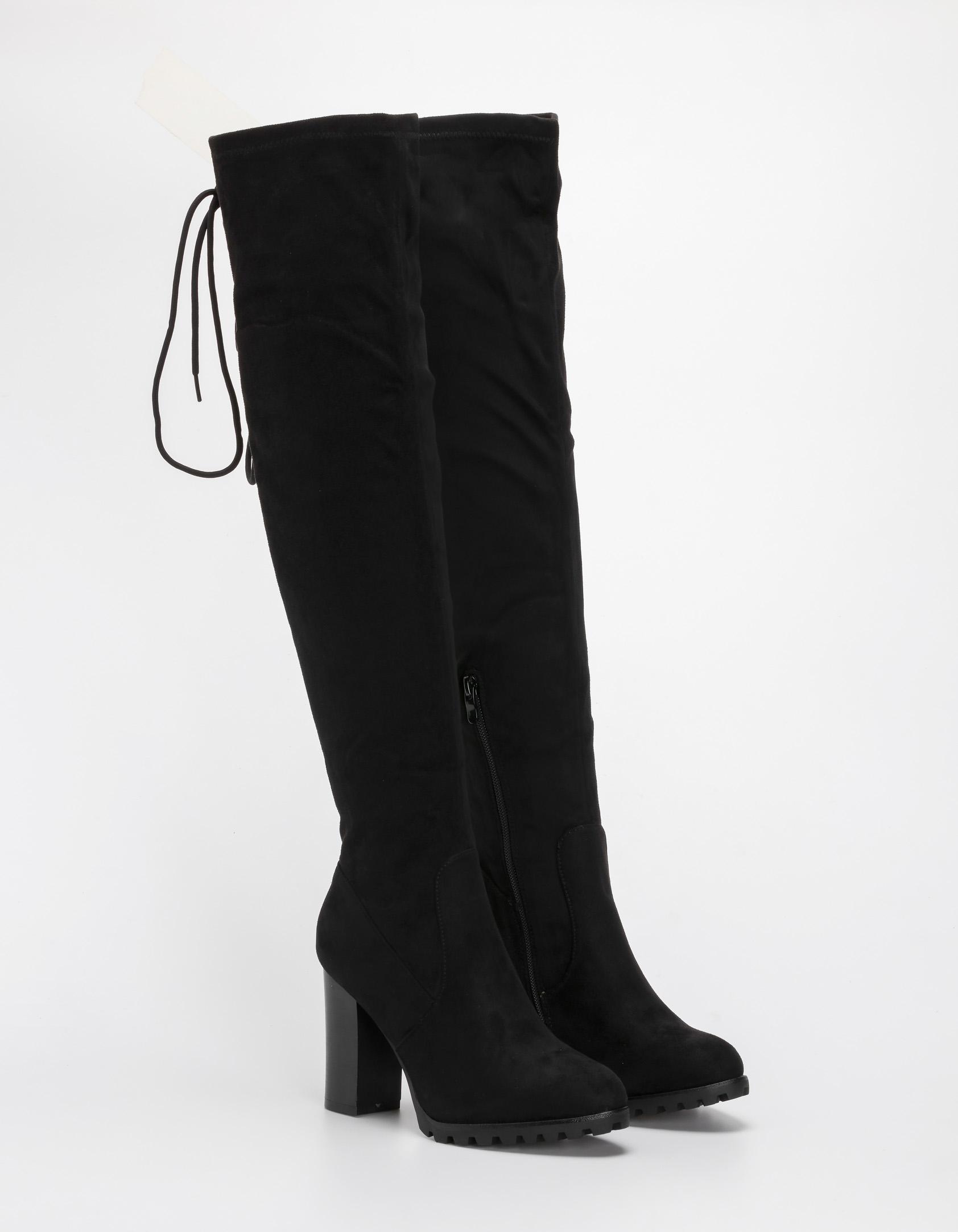 Μπότες over the knee με χοντρό τακούνι - Μαύρο