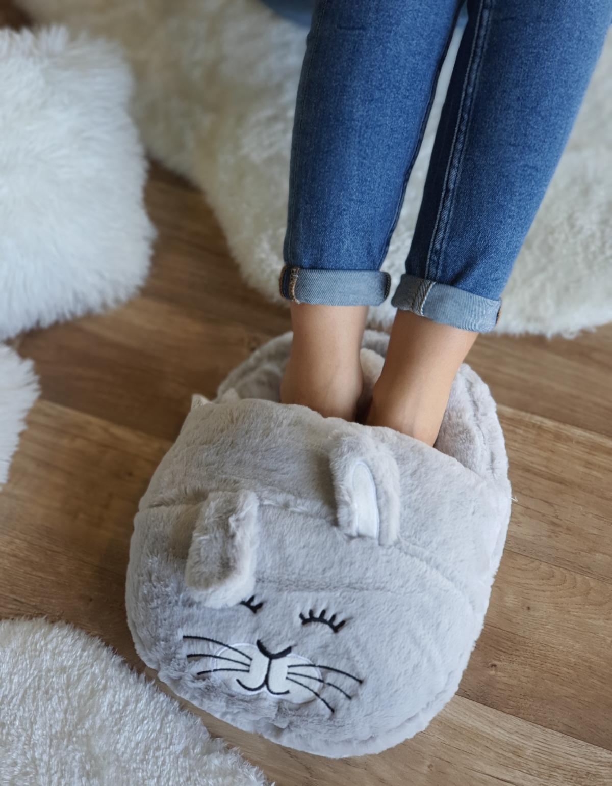 Oversized cozy παντόφλα κουνελάκι - Γκρι