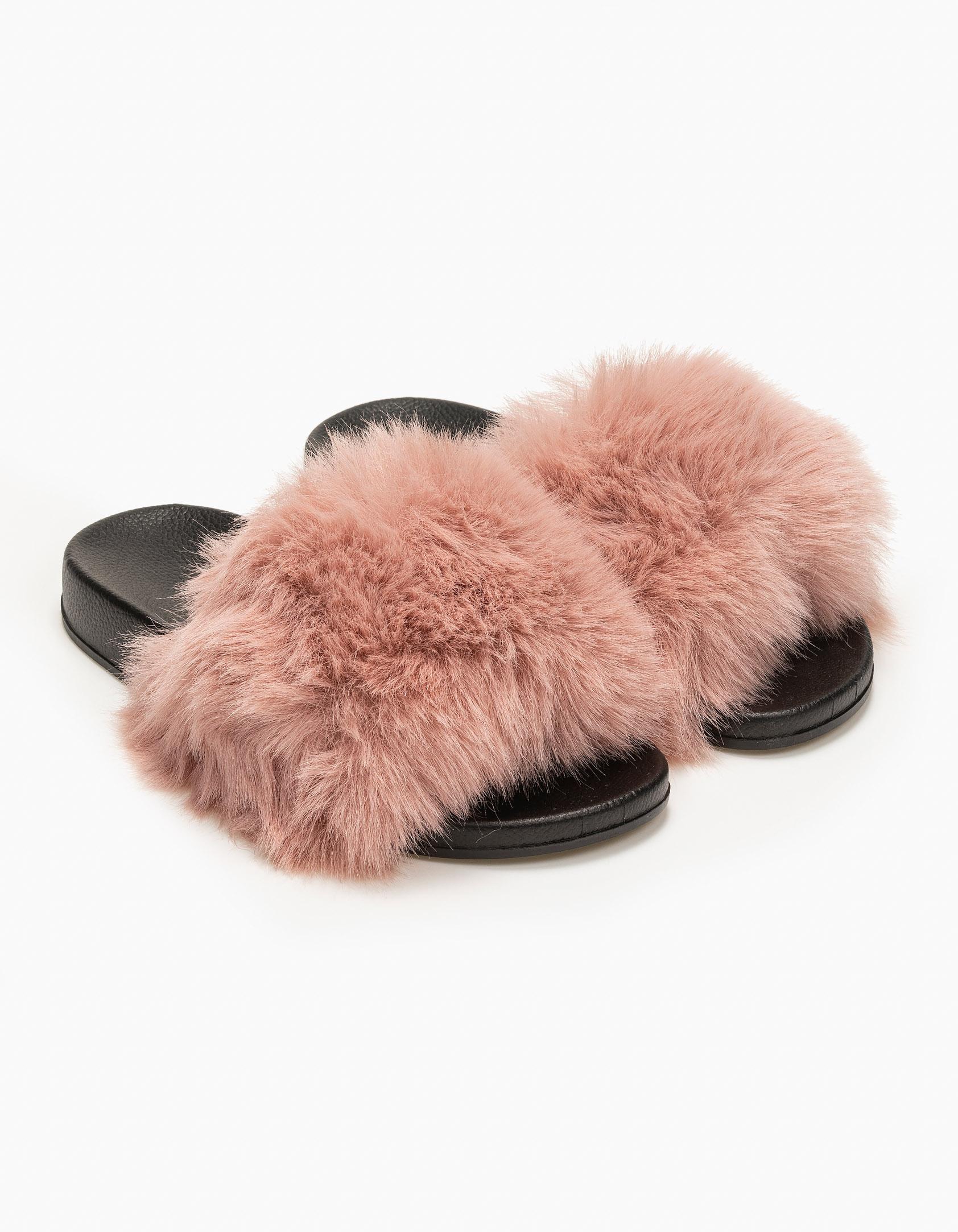 Παντόφλες με γούνα και λαστιχένια σόλα - Ροζ