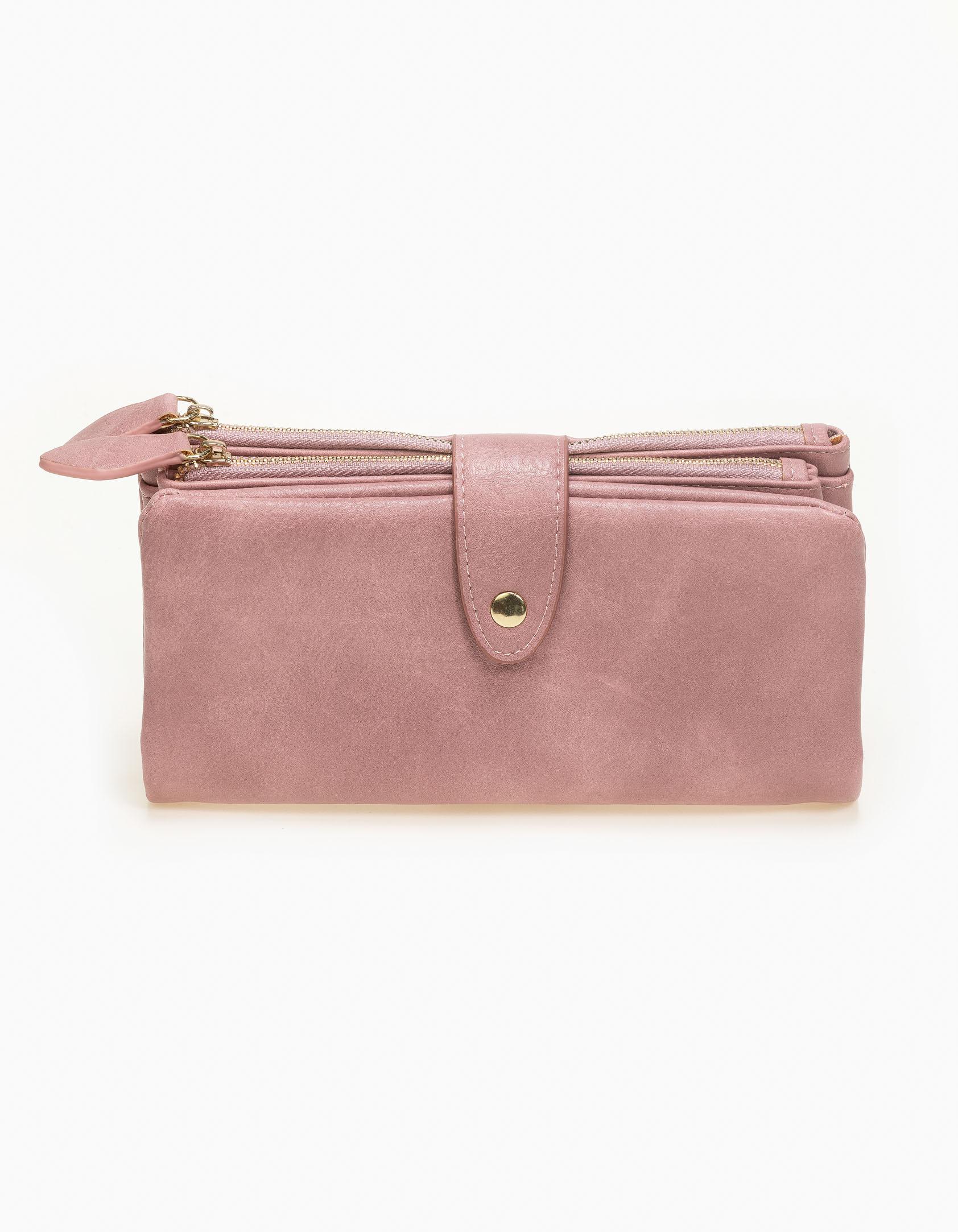 Πορτοφόλι με αποσπώμενη εσωτερική θήκη - Ροζ