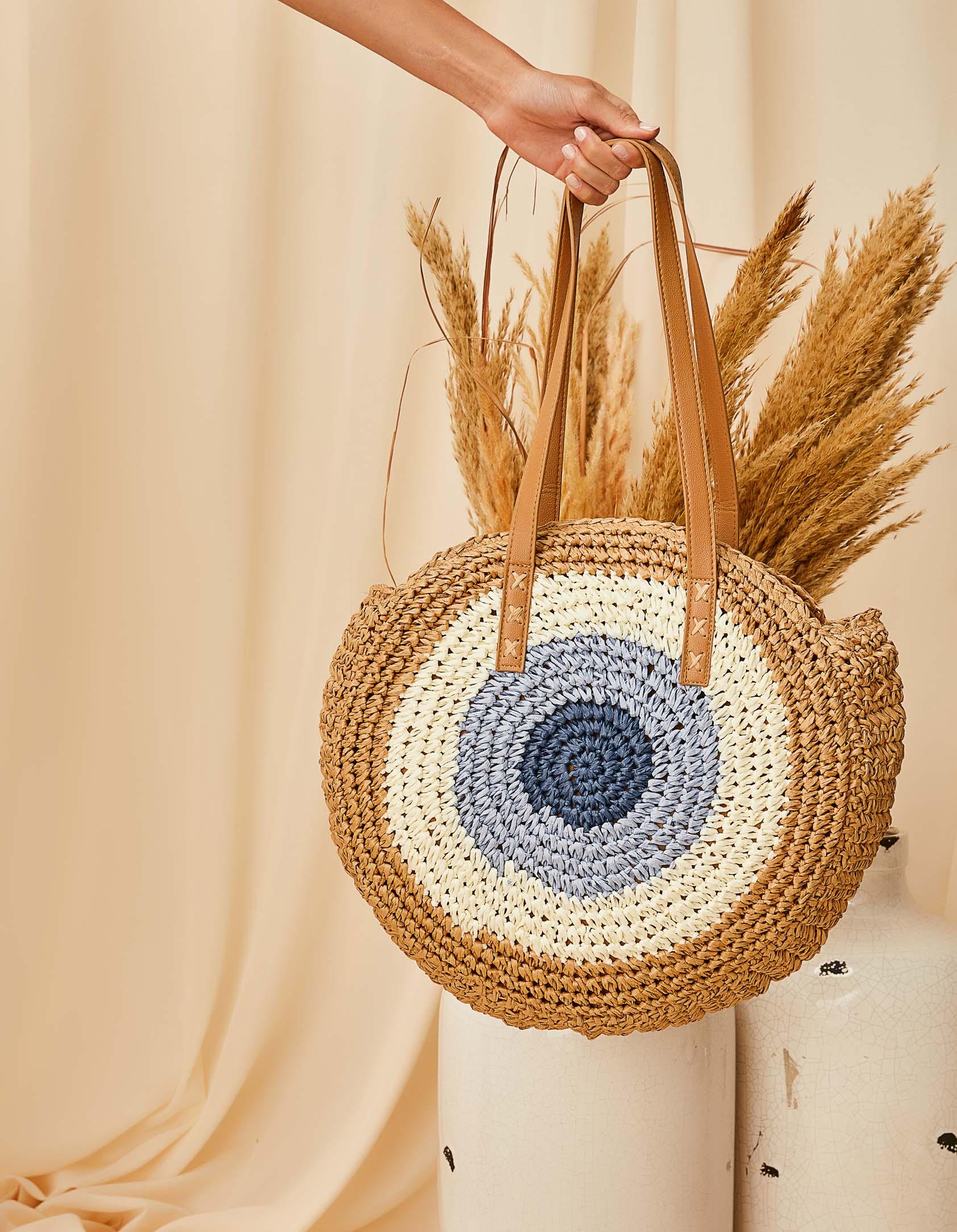 Ψάθινη τσάντα ώμου με συνδυασμό χρωμάτων - Πούρο