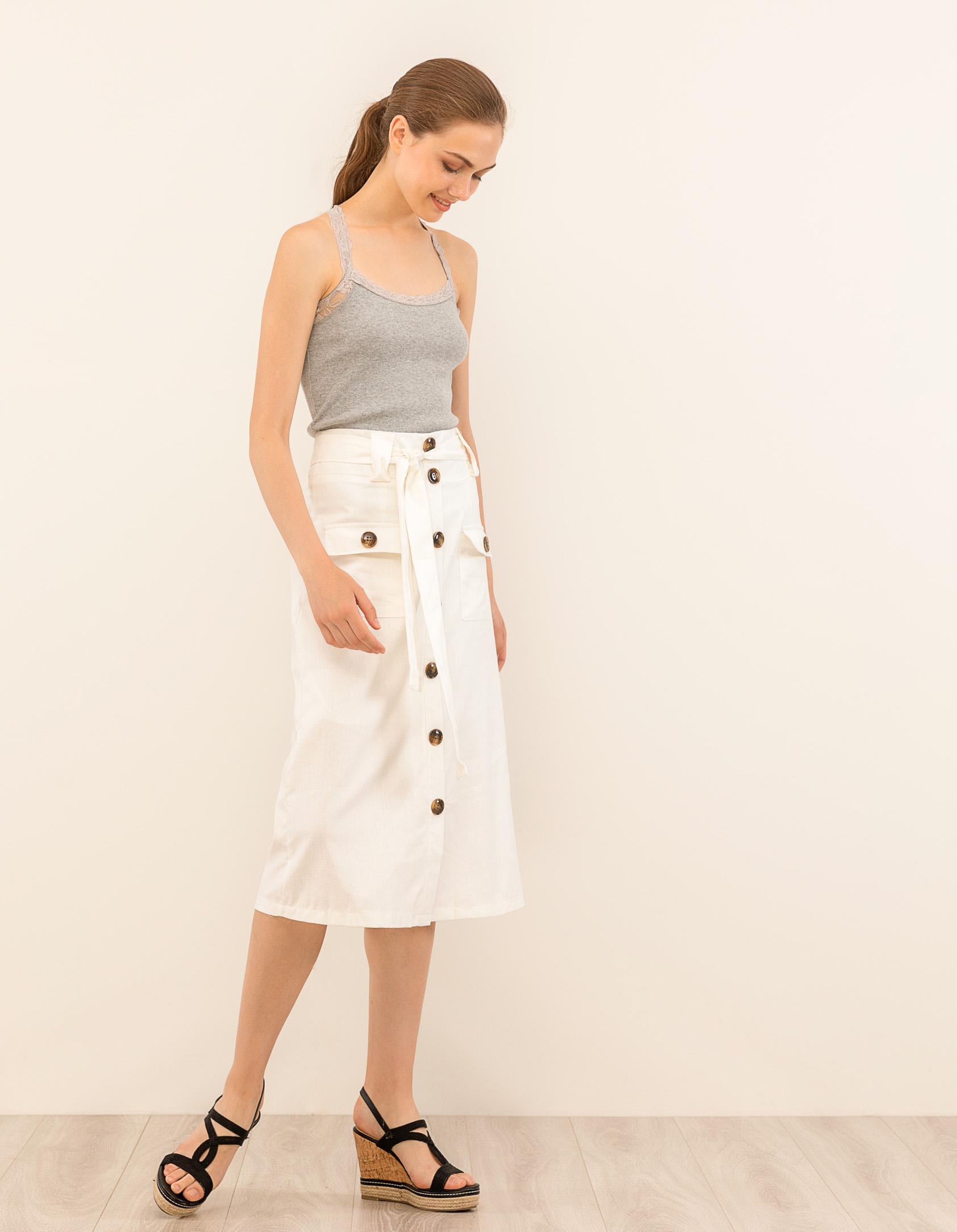 Ψηλόμεση midi φούστα με κοκάλινα κουμπιά - Λευκό