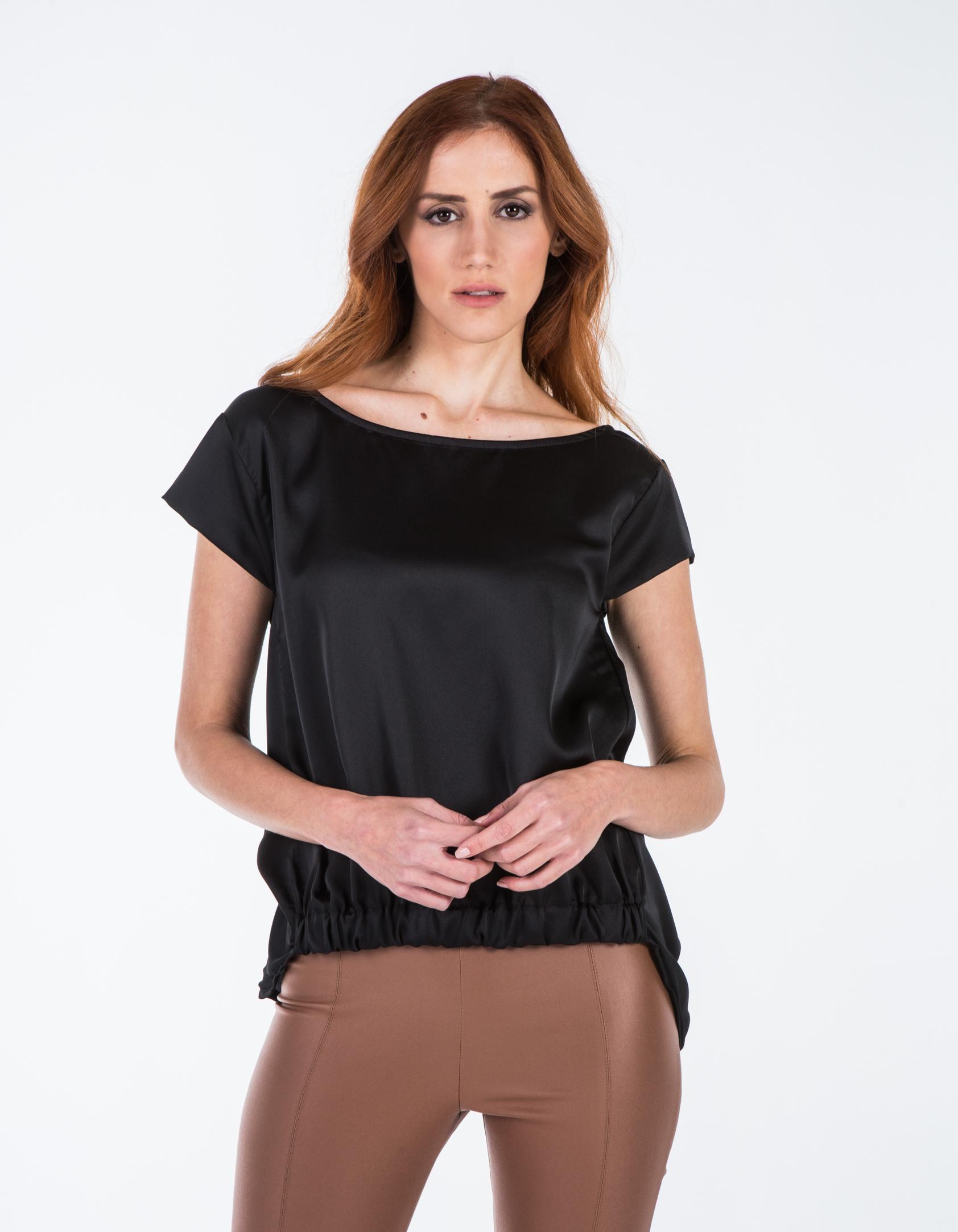 Σατέν μπλούζα με λάστιχο - Μαύρο