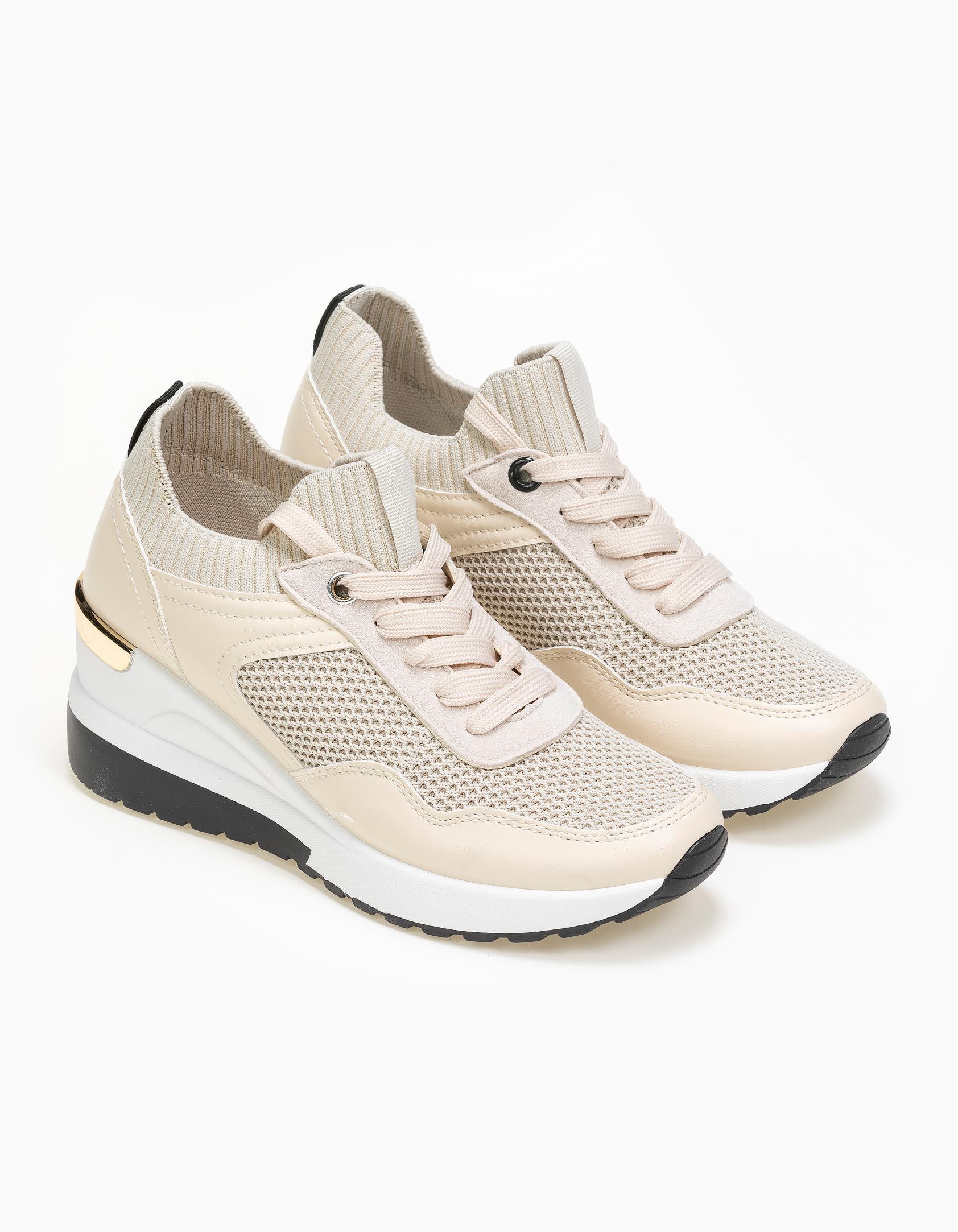 Sneakers με σφήνα - Μπεζ
