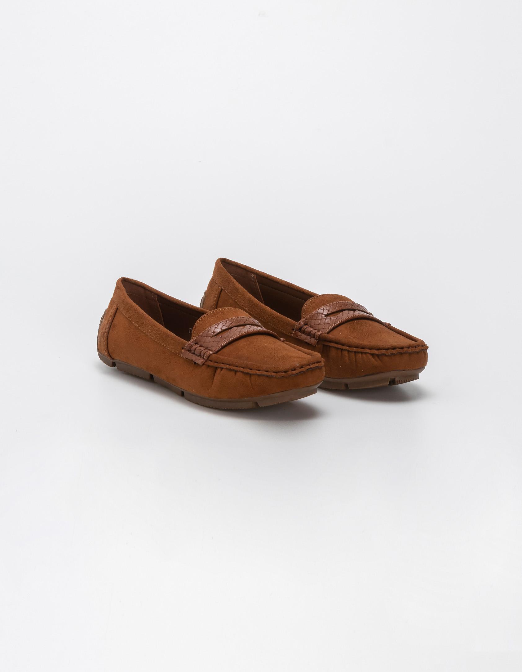 Suede loafers με croco λεπτομέρειες - Κάμελ