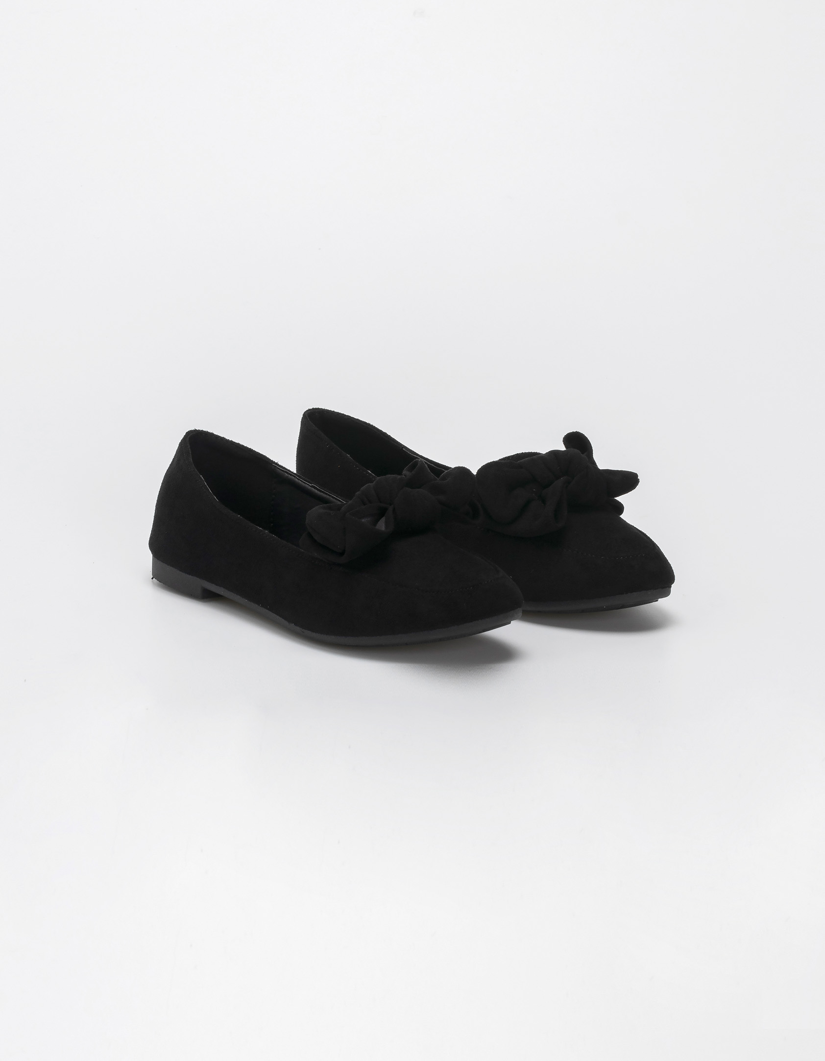 Suede loafers με φιόγκο - Μαύρο
