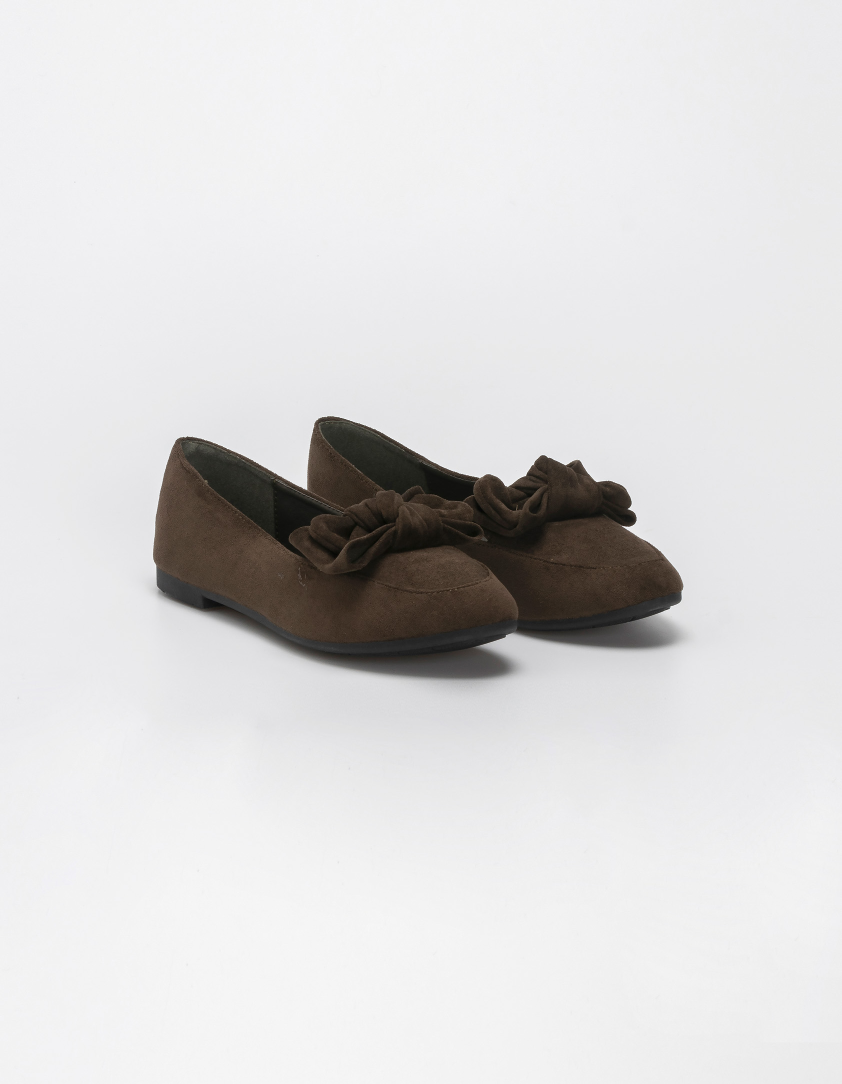 Suede loafers με φιόγκο - Λαδί