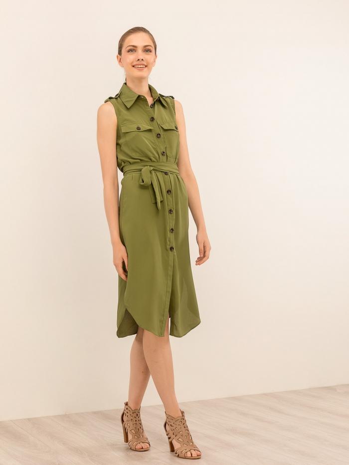 Αμάνικο φόρεμα-πουκάμισο με κοκάλινα κουμπιά