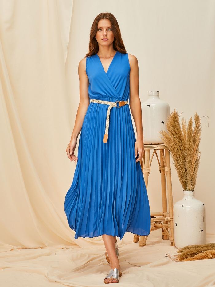 Αμάνικο πλισέ φόρεμα