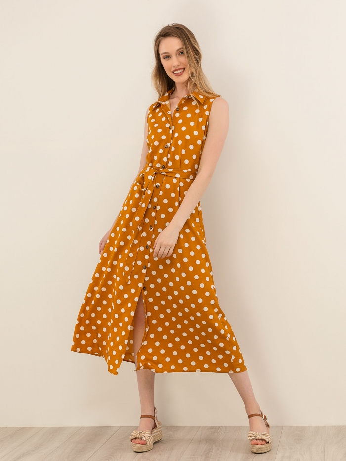 0d933e0b1f2 Αμάνικο πουά φόρεμα