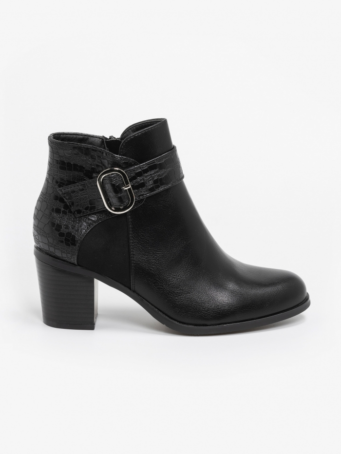 Ankle boots combo υλικών με αγκράφα
