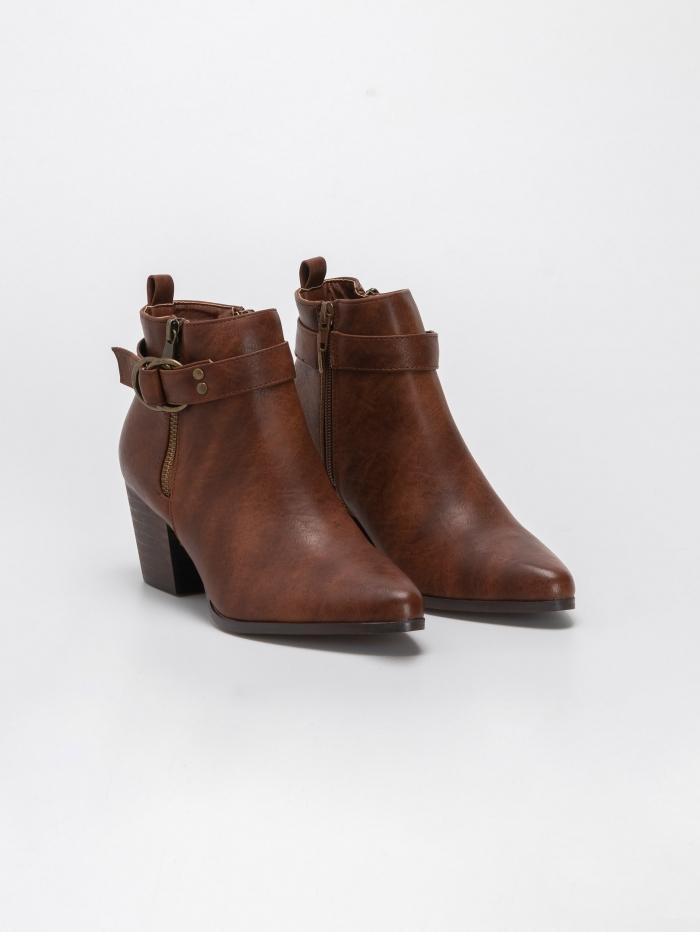 Ankle boots με σχέδιο ζωνάκι με κρίκους και φερμουάρ