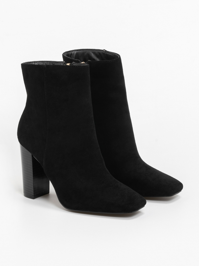 Ankle boots τύπου suede με wooden high heel