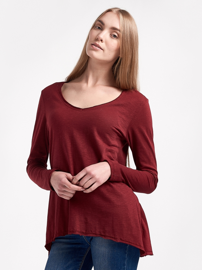 Ασύμμετρη μακρυμάνικη μπλούζα
