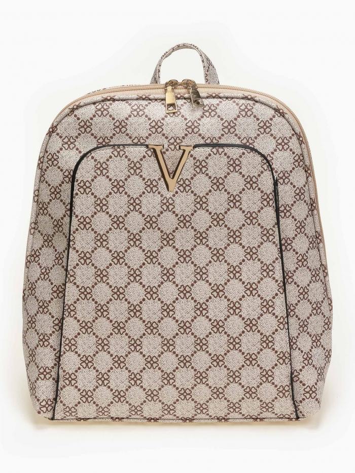 Τσάντα πλάτης με pattern και εξωτερική θήκη