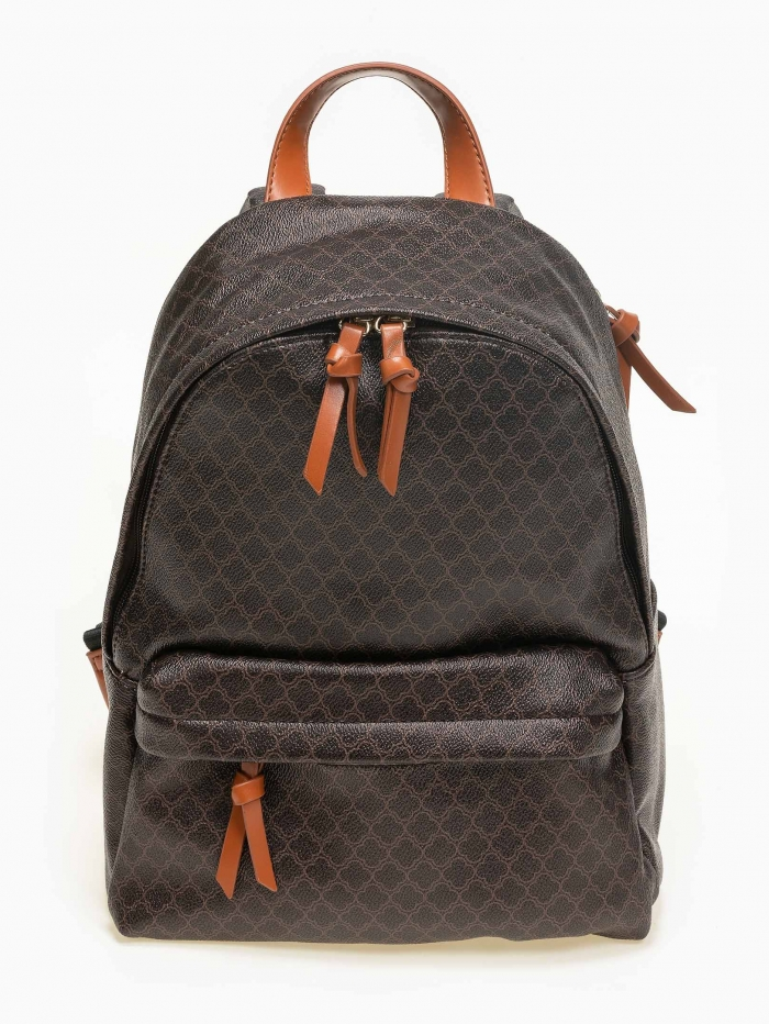 Backpack με pattern και δερμάτινες λεπτομέριες