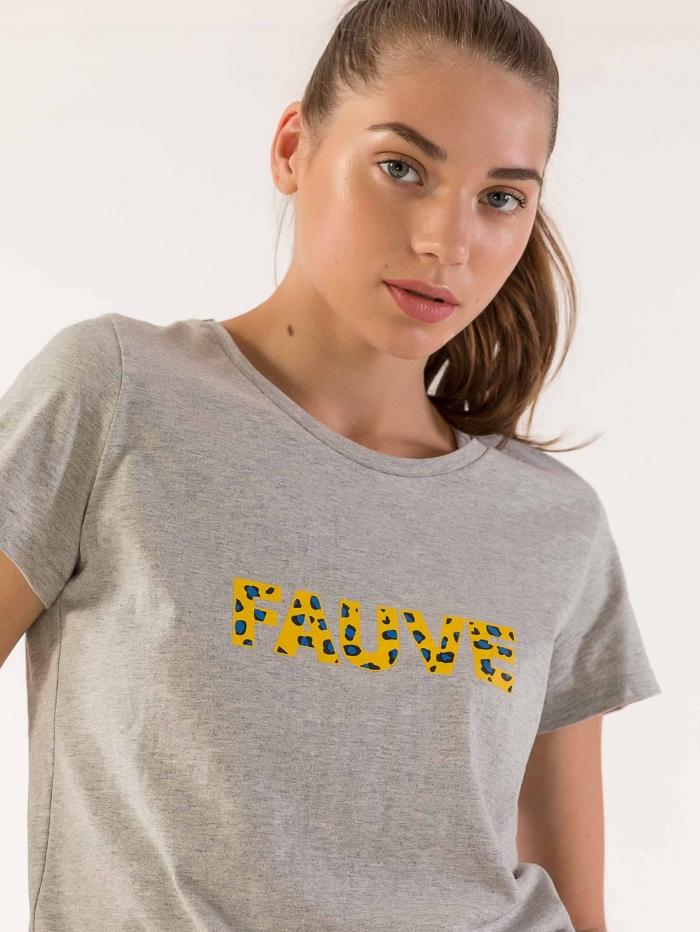 Basic t-shirt με μήνυμα fauve