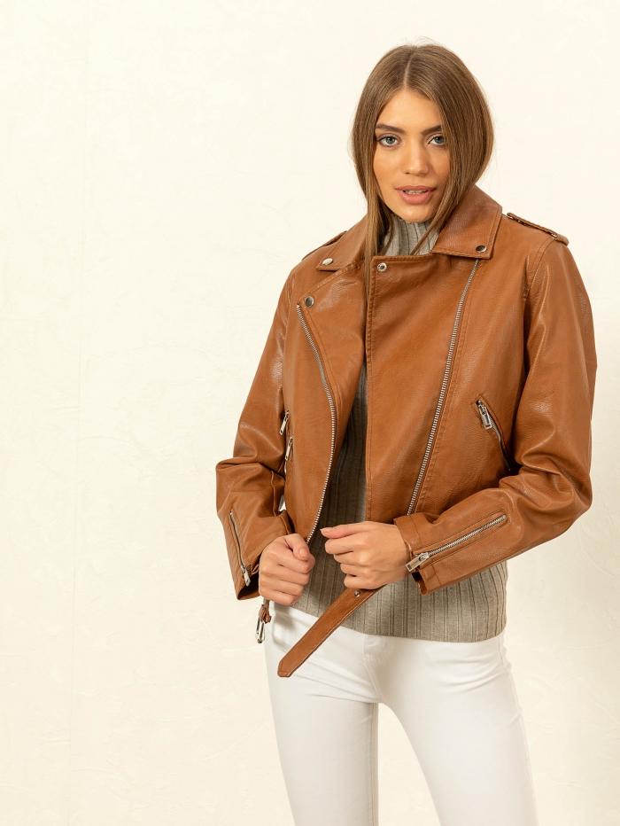 Biker jacket με ζώνη