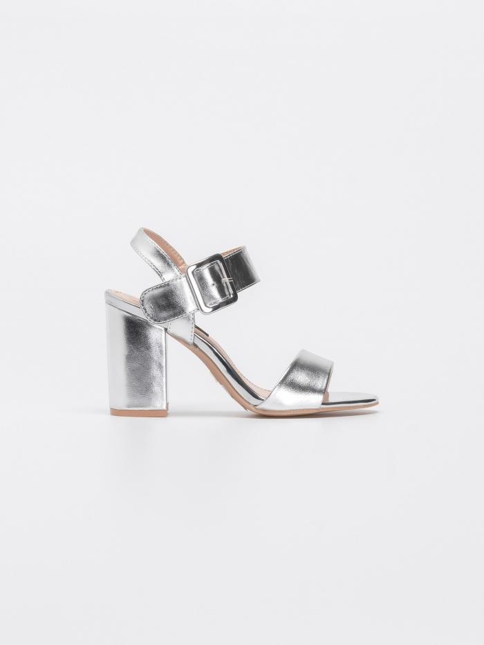 Block heel μεταλλιζέ πέδιλα