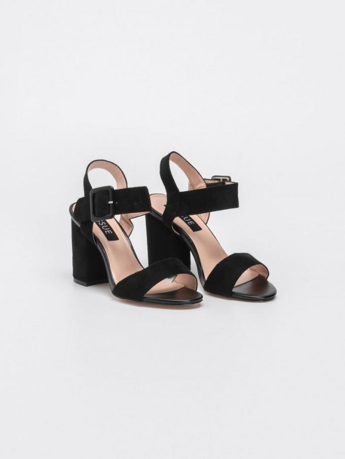 Block heel suede πέδιλα