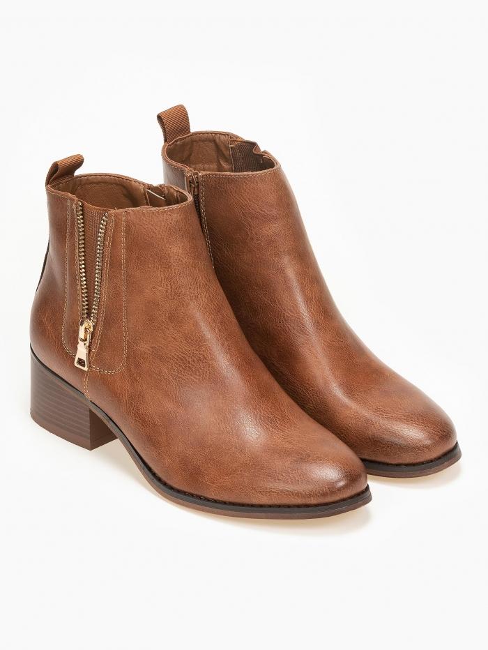 Ankle boots με λάστιχο και φερμουάρ