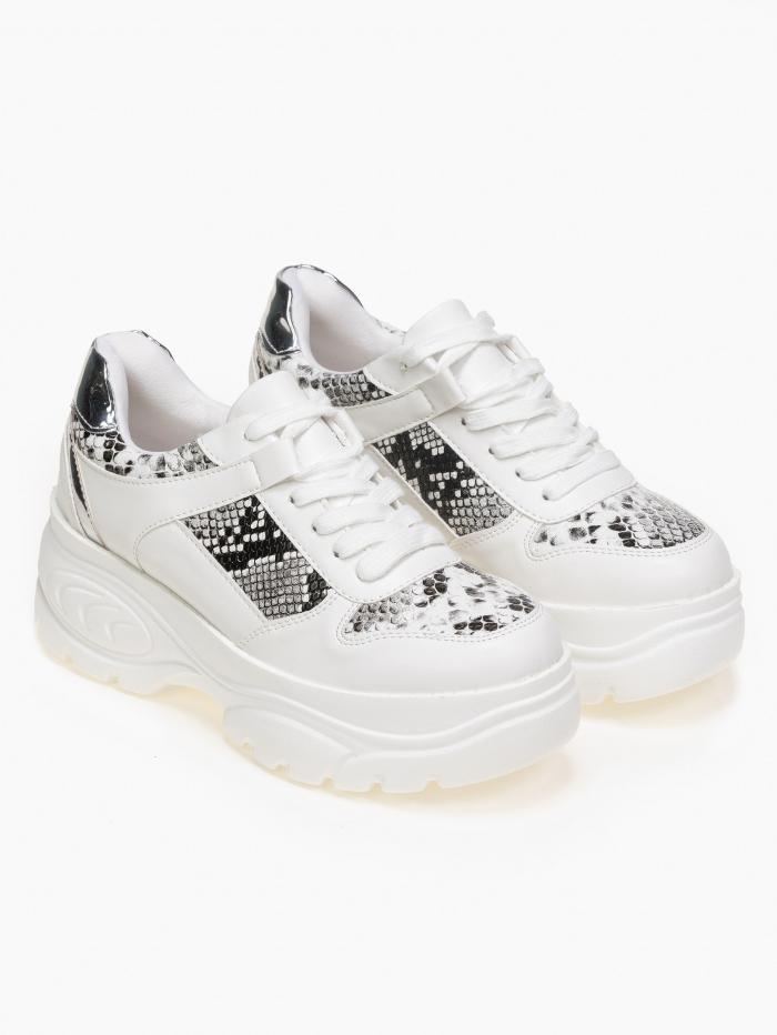 Chunky sneakers με animal print διχρωμία