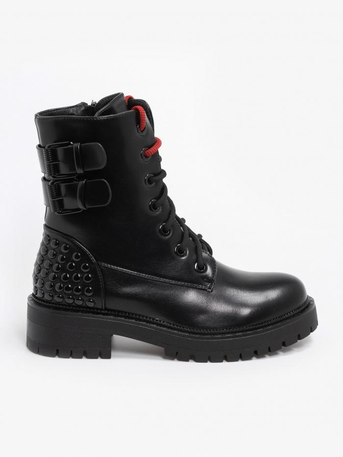 Combat boots με διακοσμητικά ζωνάκια