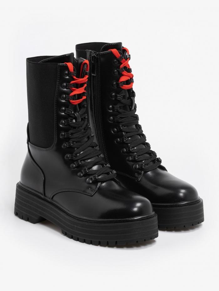 Combat boots με λάστιχο & κορδόνια