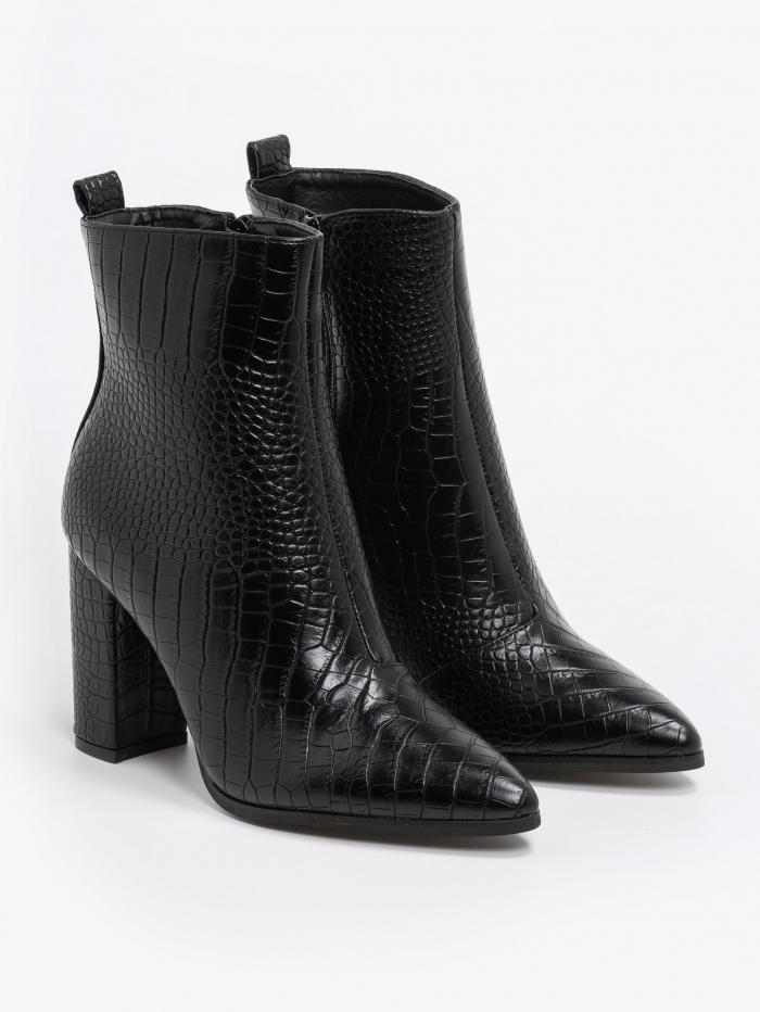 Croco μποτάκια με block heel